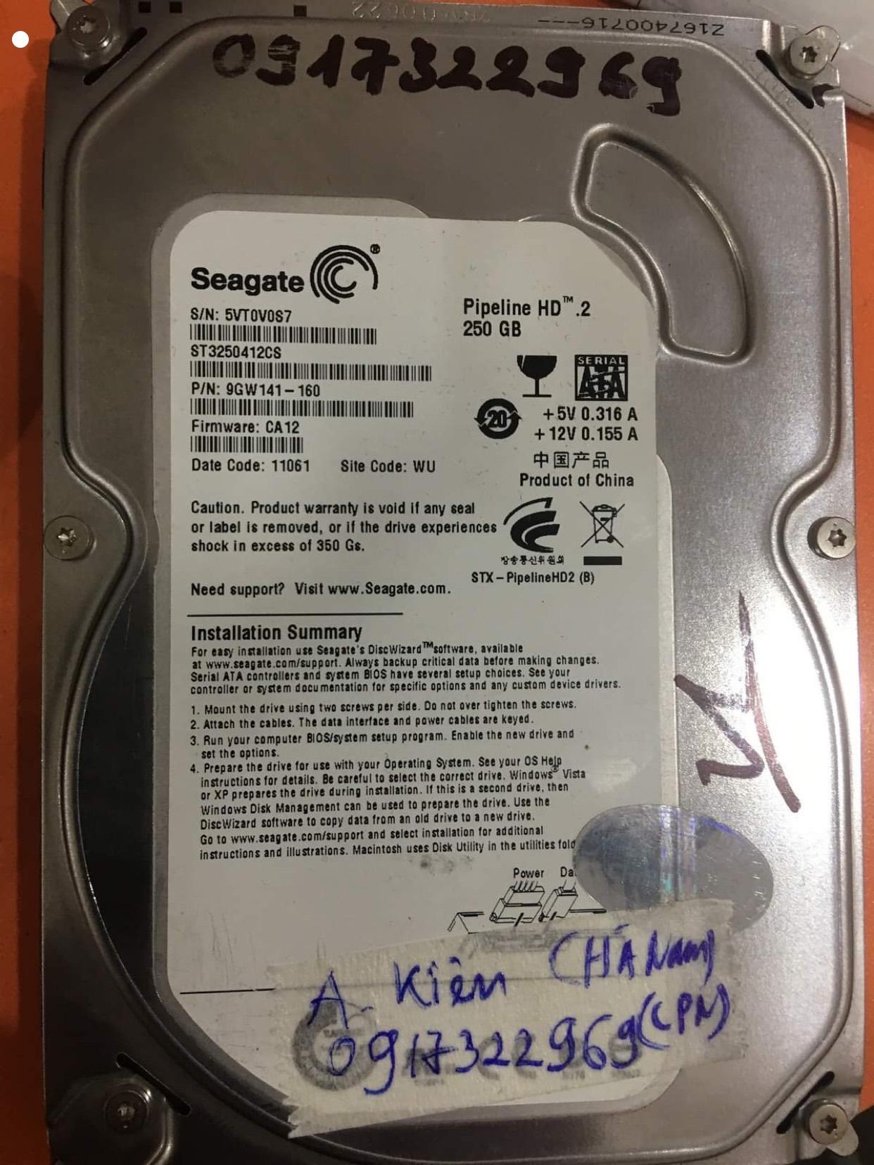 Cứu dữ liệu ổ cứng Seagate 250GB không nhận 08/10/2020 - cuumaytinh