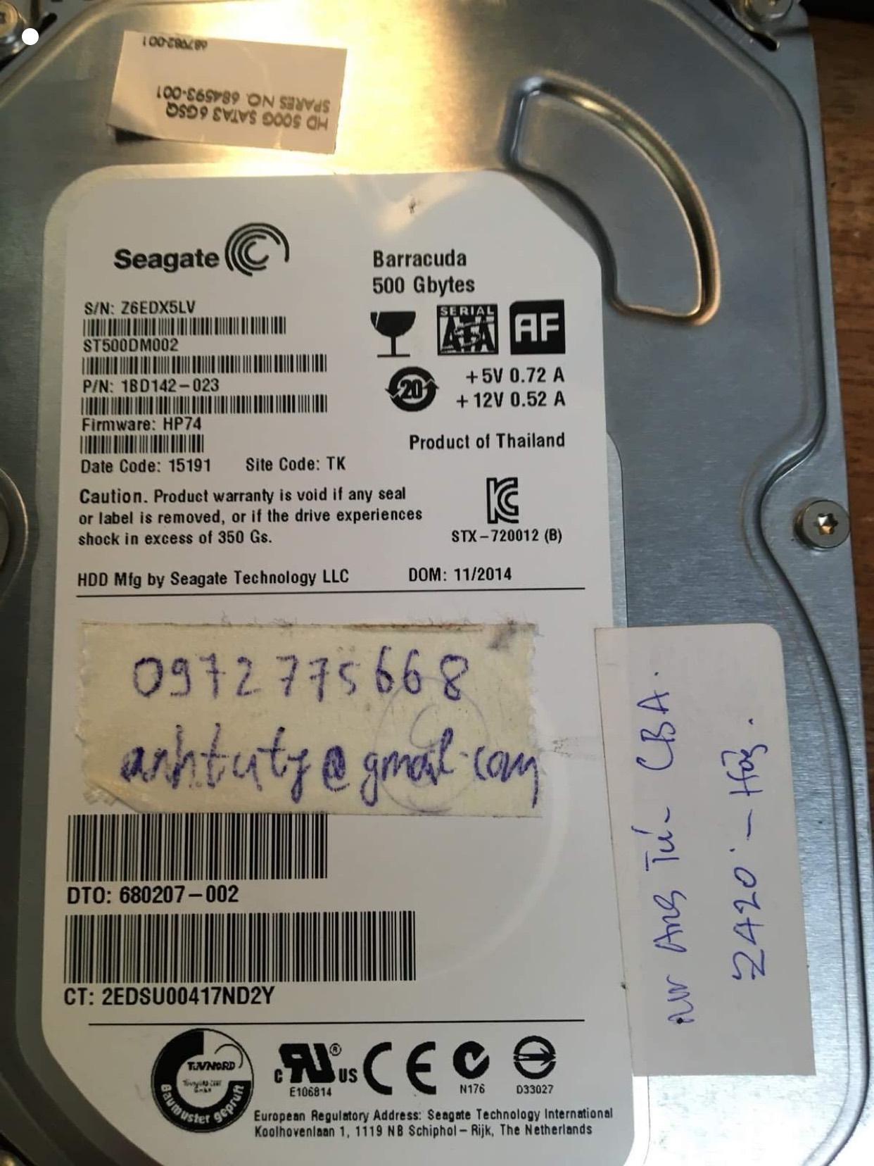Cứu dữ liệu ổ cứng Seaagte 500GB bó cơ 10/10/2020 - cuumaytinh