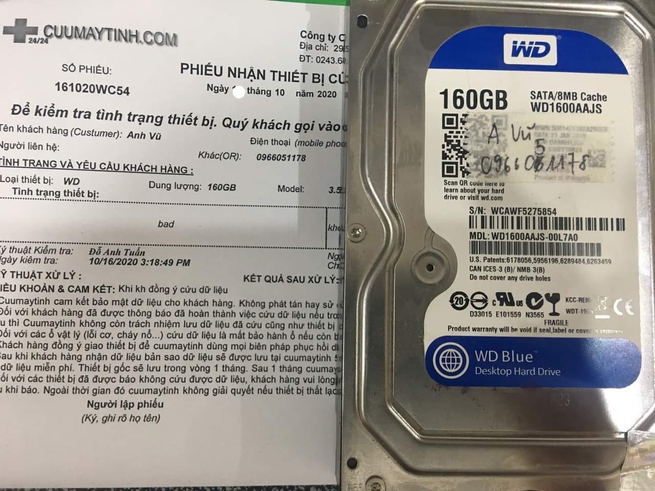 Cứu dữ liệu ổ cứng Western 160GB bad 21/10/2020 - cuumaytinh