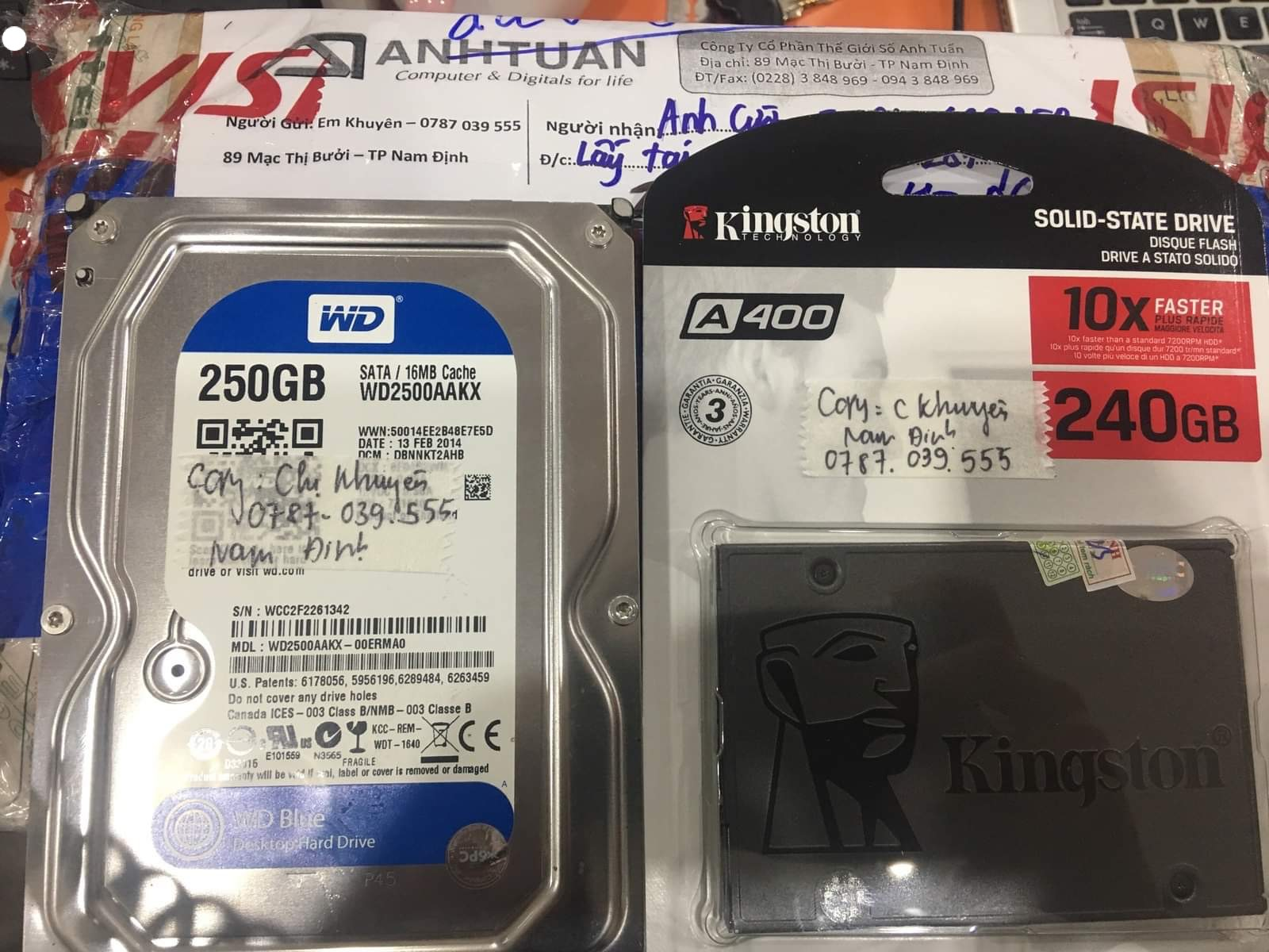 Cứu dữ liệu ổ cứng Western 250GB đầu đọc kém tai Nam Dinh 02/10/2020 - cuumaytinh