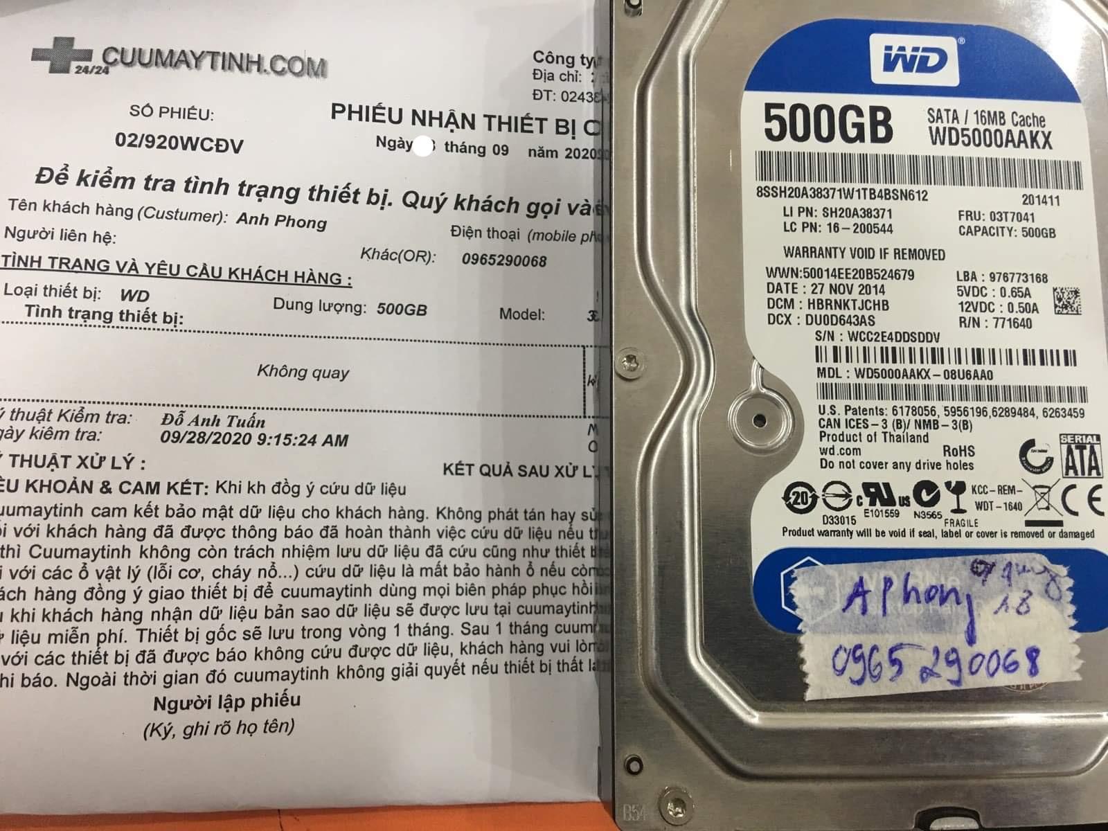 Cứu dữ liệu ổ cứng Western 500GB không quay 29/09/2020 - cuumaytinh