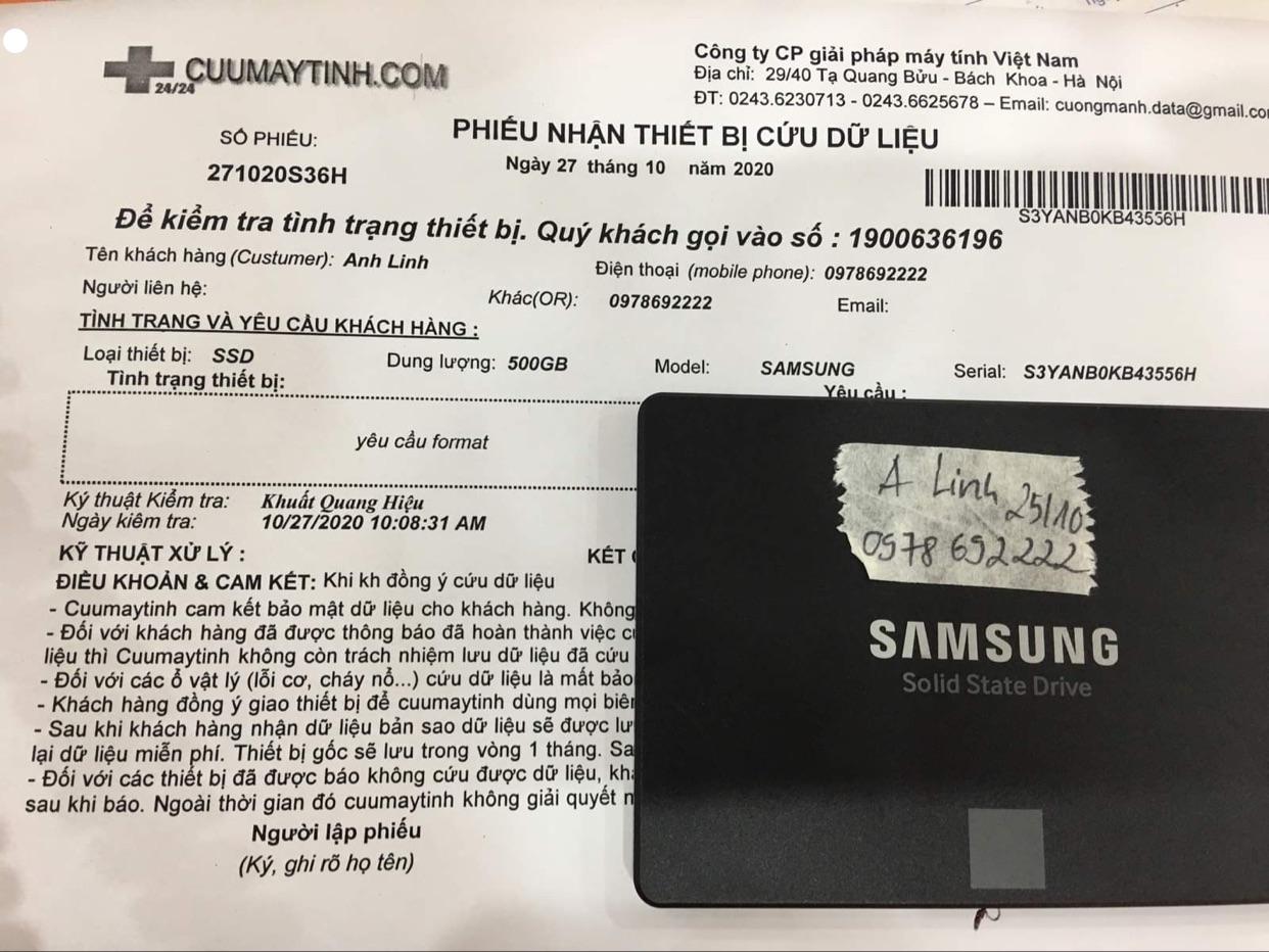 Khôi phục dữ liệu ổ cứng SSD Samsung 500GB yêu cầu format 27/10/2020 - cuumaytinh