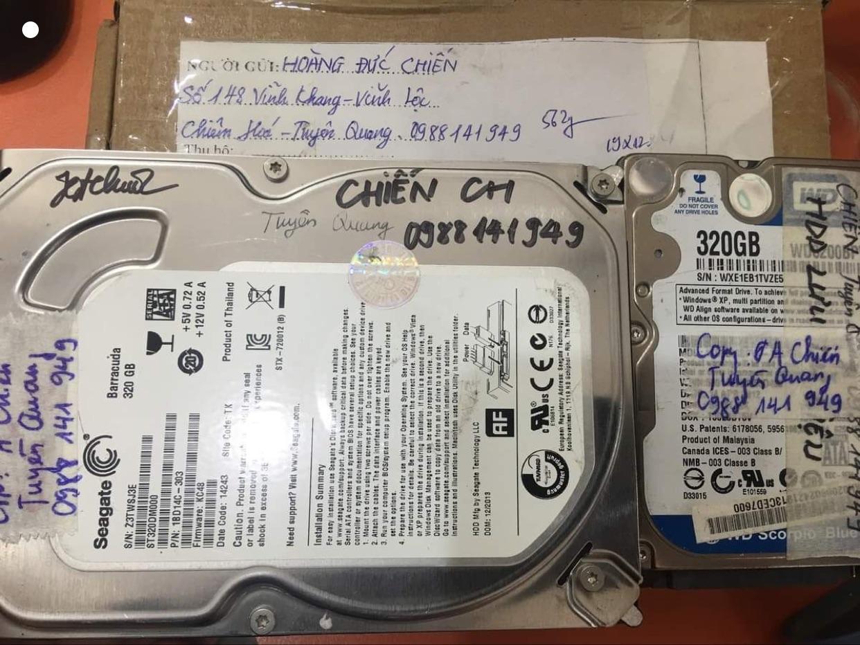 Khôi phục dữ liệu ổ cứng Seagate 320GB không nhận tại Tuyên Quang 30/09/2020 - cuumaytinh