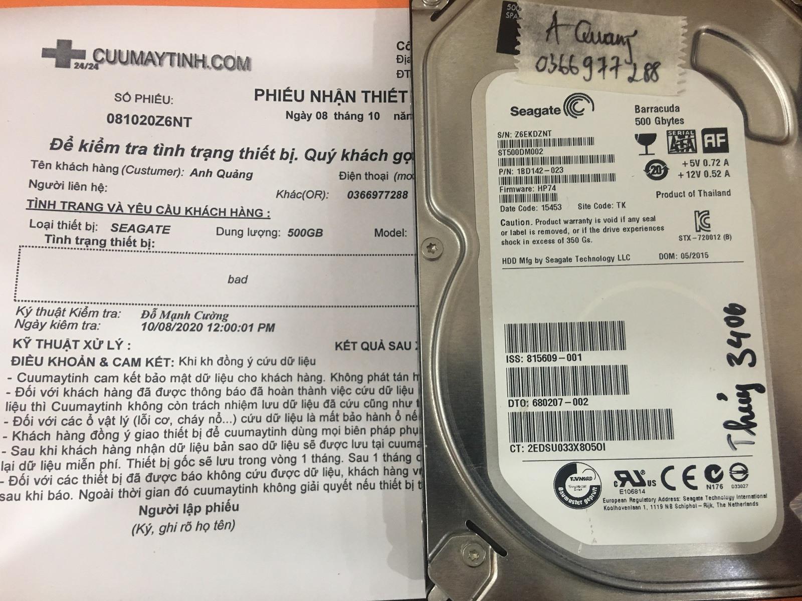 Khôi phục dữ liệu ổ cứng Seagate 500GB bad 08/10/2020 - cuumaytinh