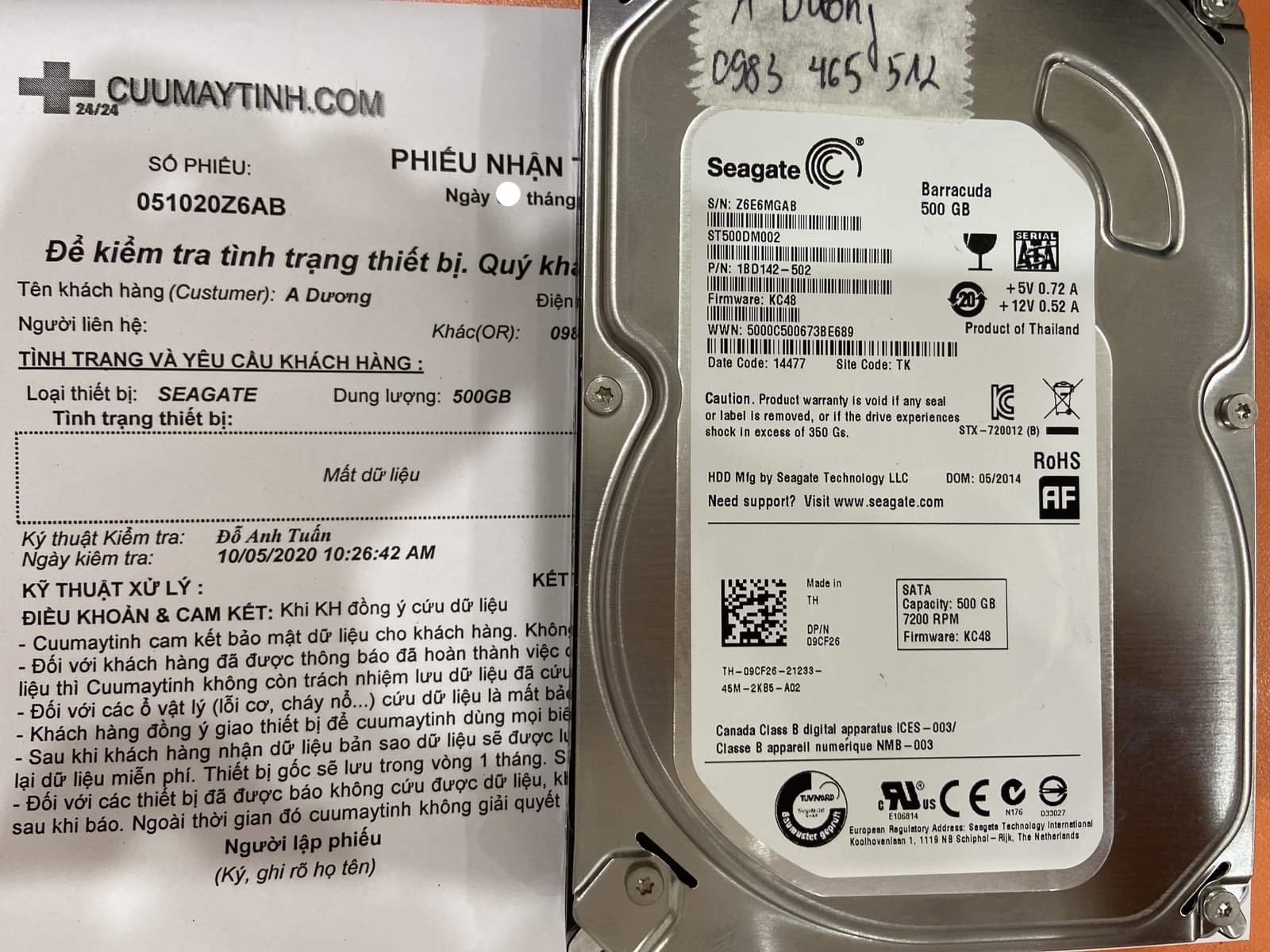Khôi phục dữ liệu ổ cứng Seagate 500GB format nhầm 09/10/2020 - cuumaytinh