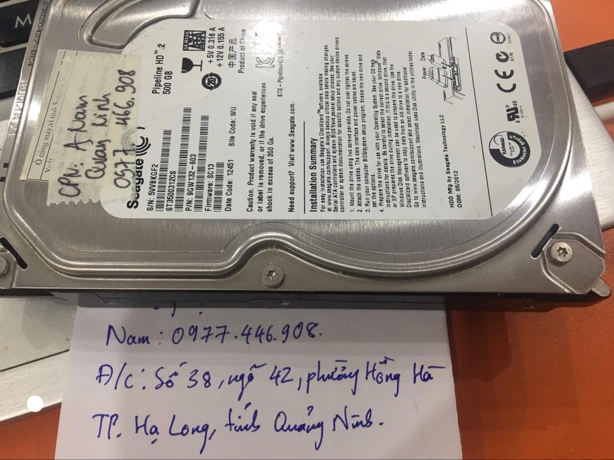 Khôi phục dữ liệu ổ cứng Seagate 500GB lỗi đầu đọc tại Quảng Ninh 23/10/2020 - cuumaytinh