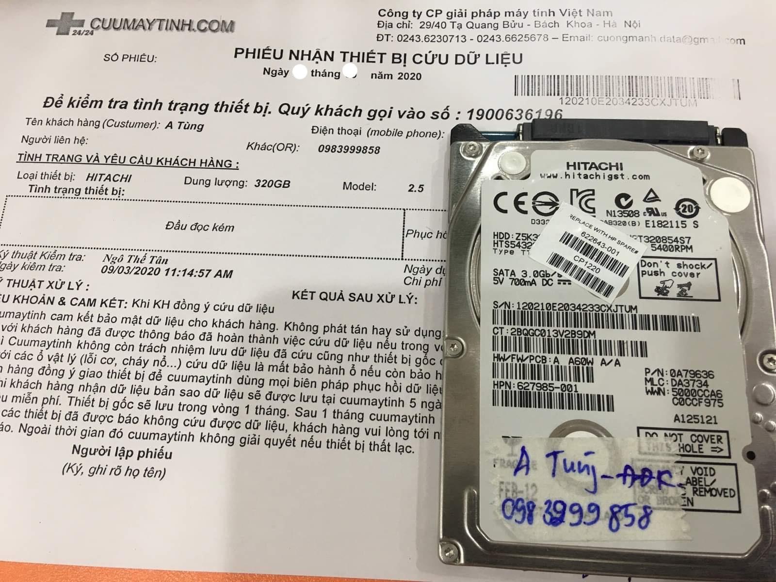 Lấy dữ liệu ổ cứng Hitachi 320GB đầu đọc kém 12/10/2020 - cuumaytinh