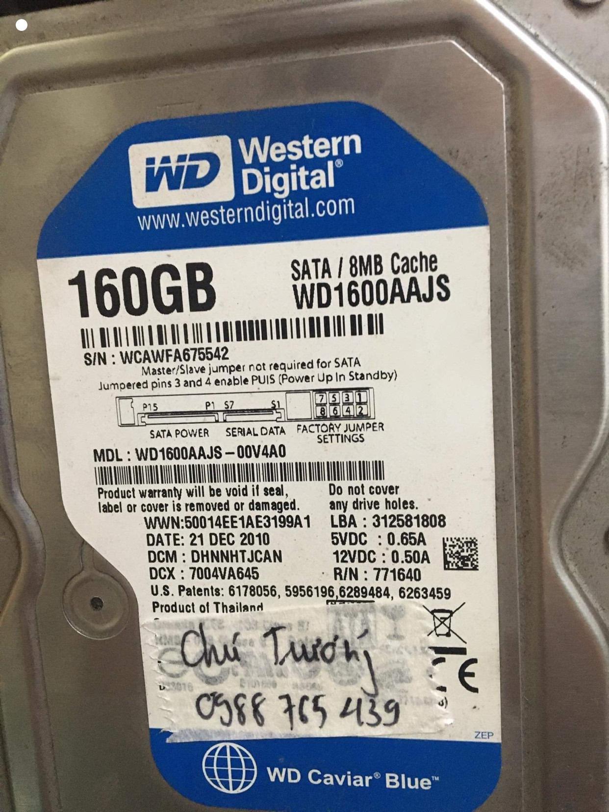 Lấy dữ liệu ổ cứng Western 160GB mất dữ liệu 10/10/2020 - cuumaytinh