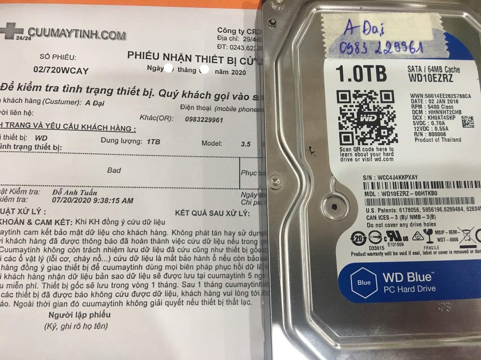 Lấy dữ liệu ổ cứng Western 1TB bad 02/10/2020 - cuumaytinh