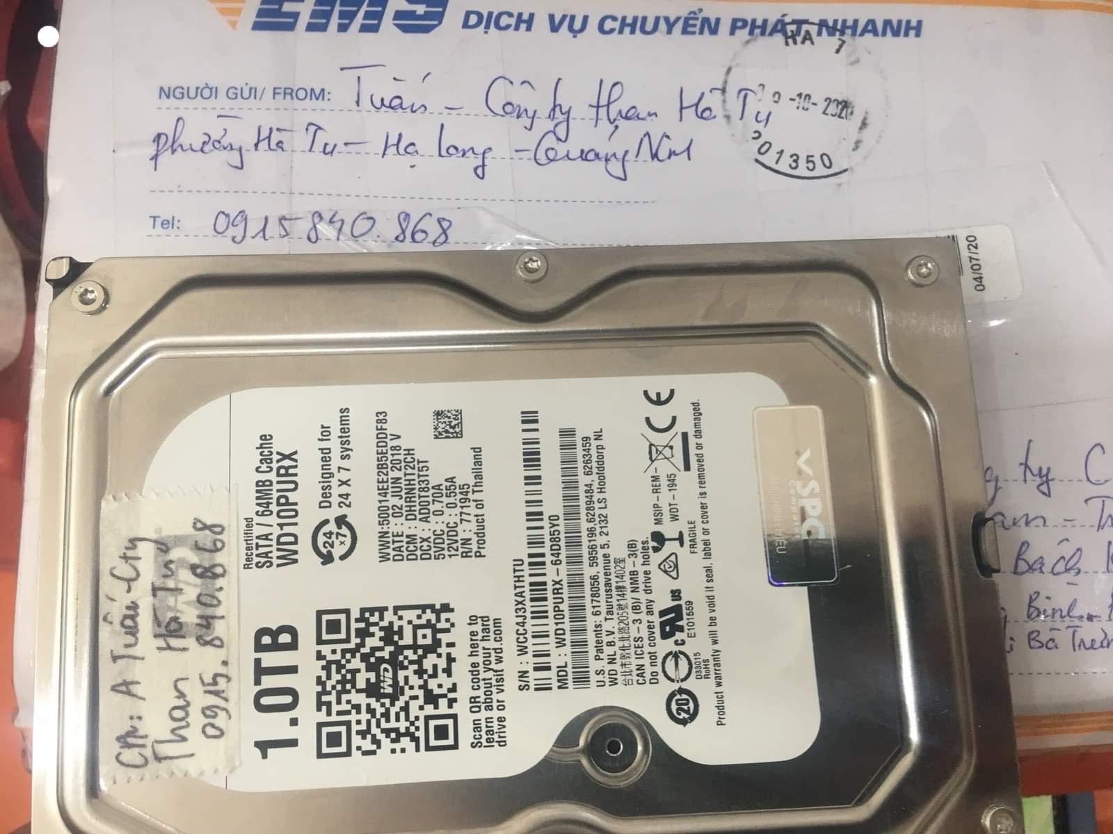 Lấy dữ liệu ổ cứng Western 1TB lỗi đầu đọc tại Quảng Ninh 16/10/2020 - cuumaytinh