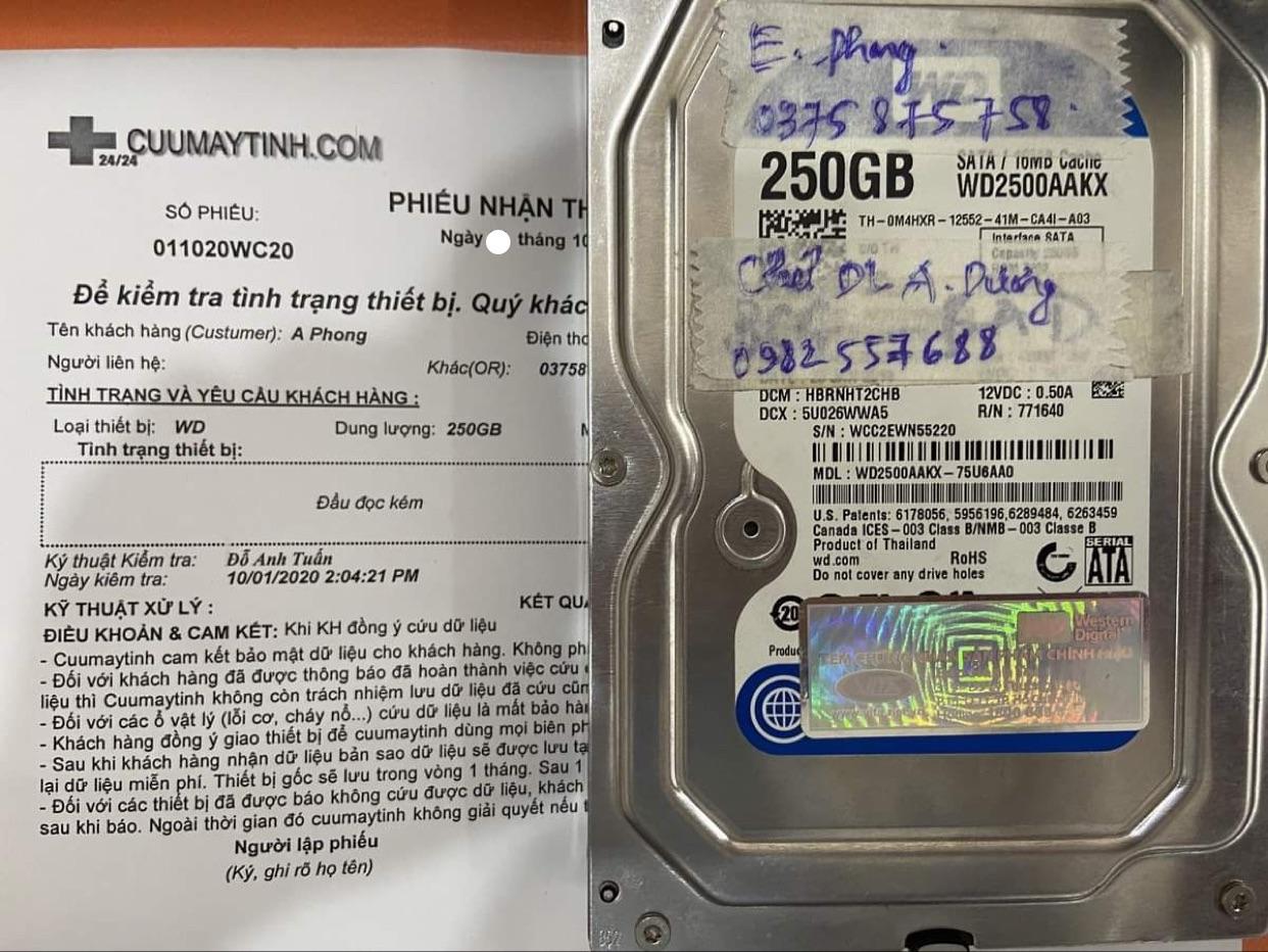 Lấy dữ liệu ổ cứng Western 250GB đầu đọc kém 07/10/2020 - cuumaytinh