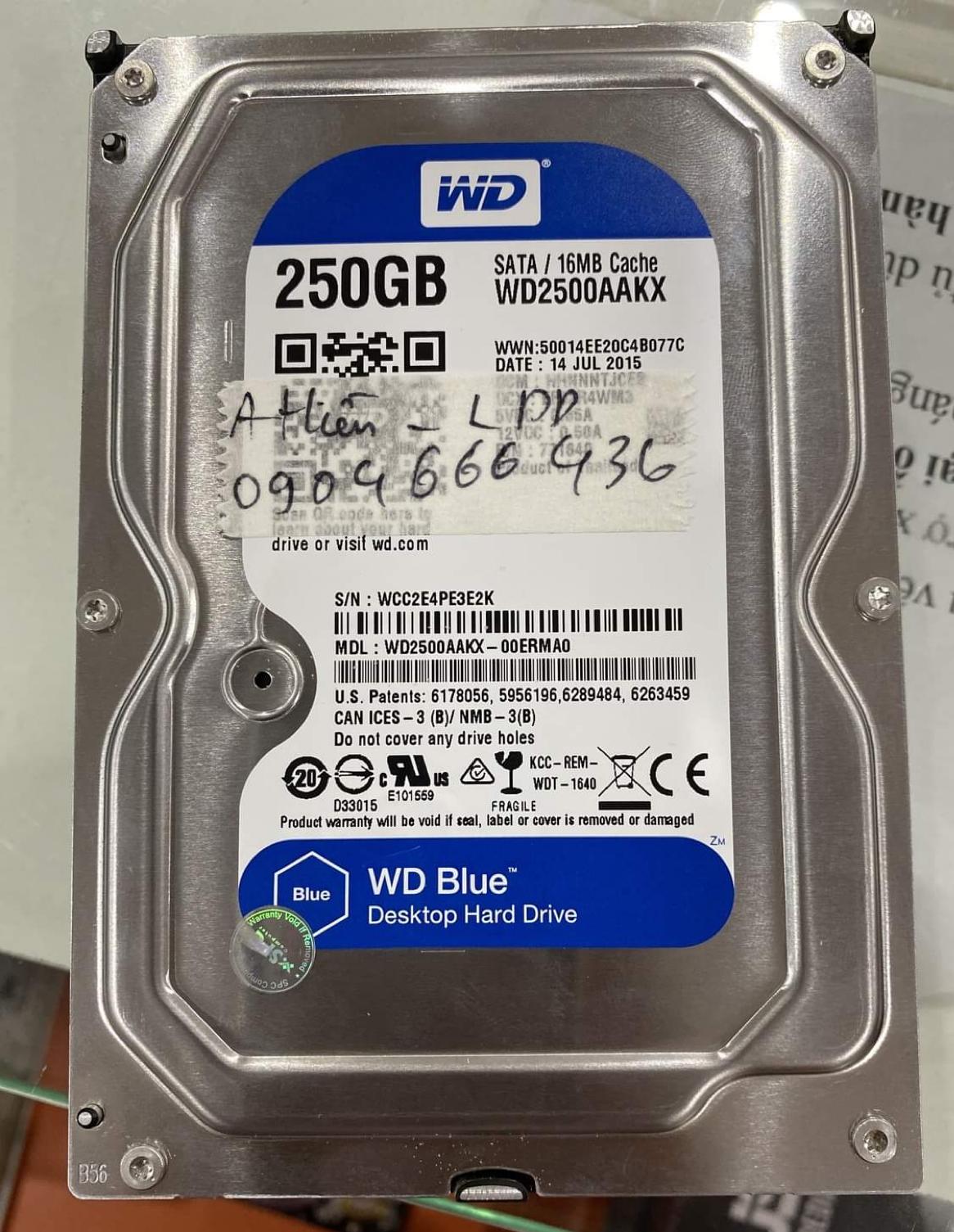 Lấy dữ liệu ổ cứng Western 250GB lỗi đầu đọc 19/10/2020 - cuumaytinh