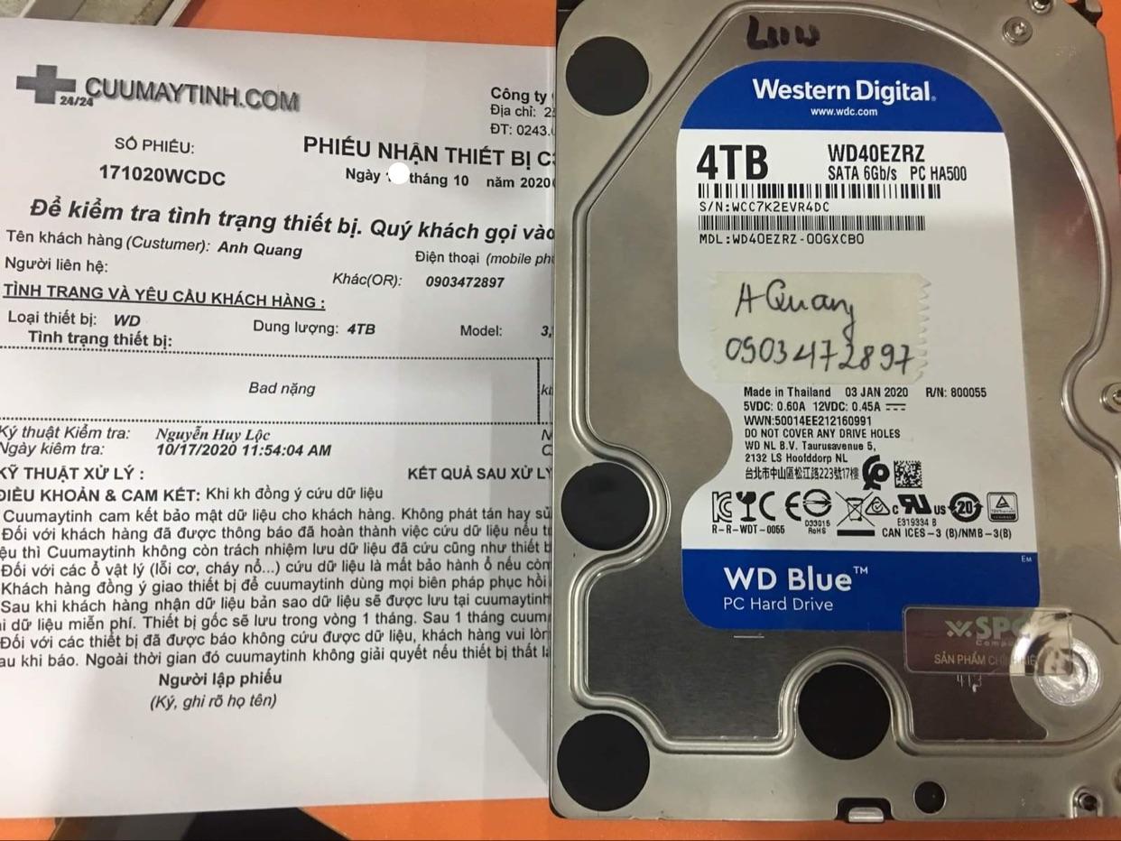 Lấy dữ liệu ổ cứng Western 4TB bad 23/10/2020 - cuumaytinh