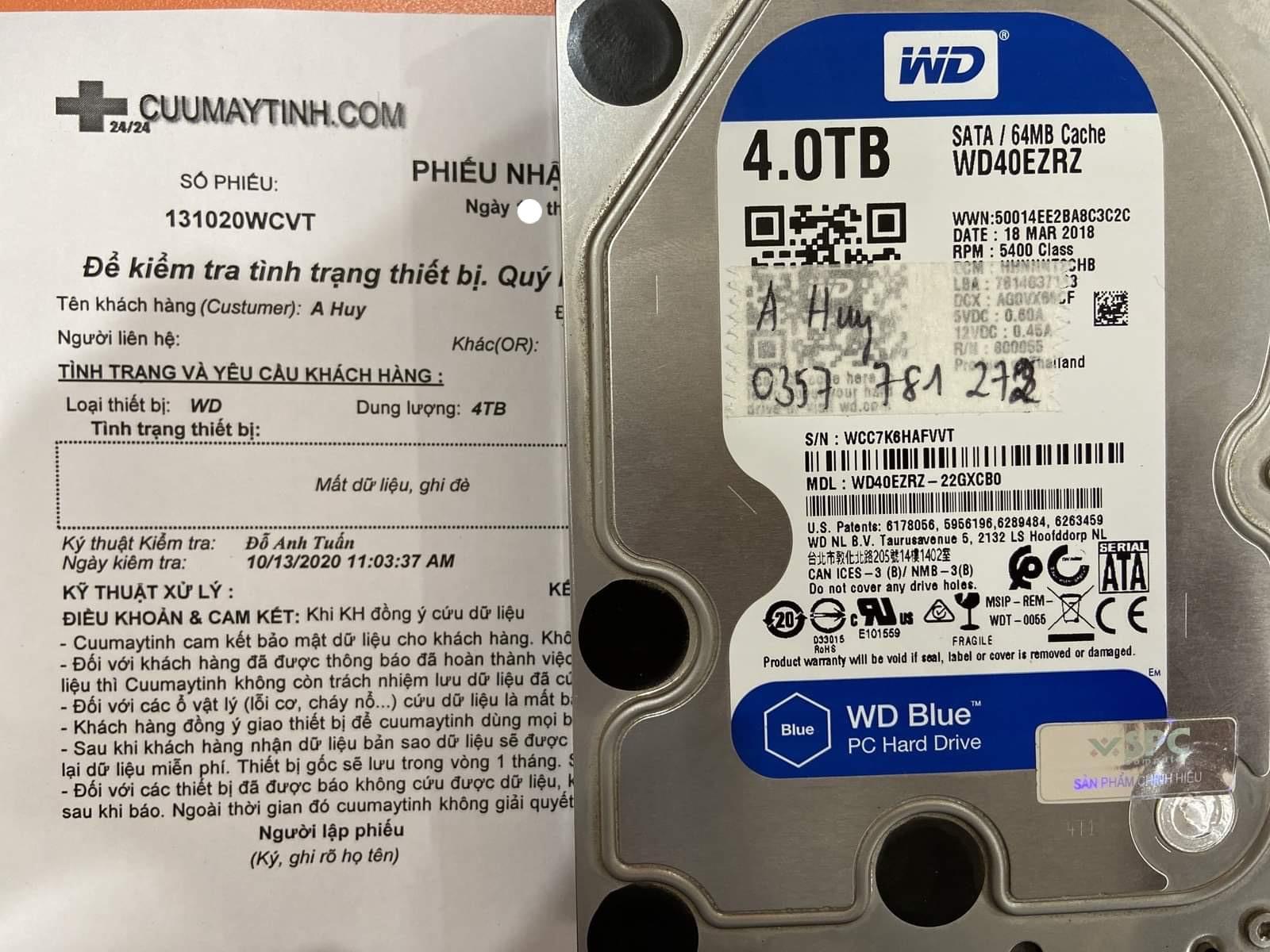 Lấy dữ liệu ổ cứng Western 4TB format nhầm 14/10/2020 - cuumaytinh