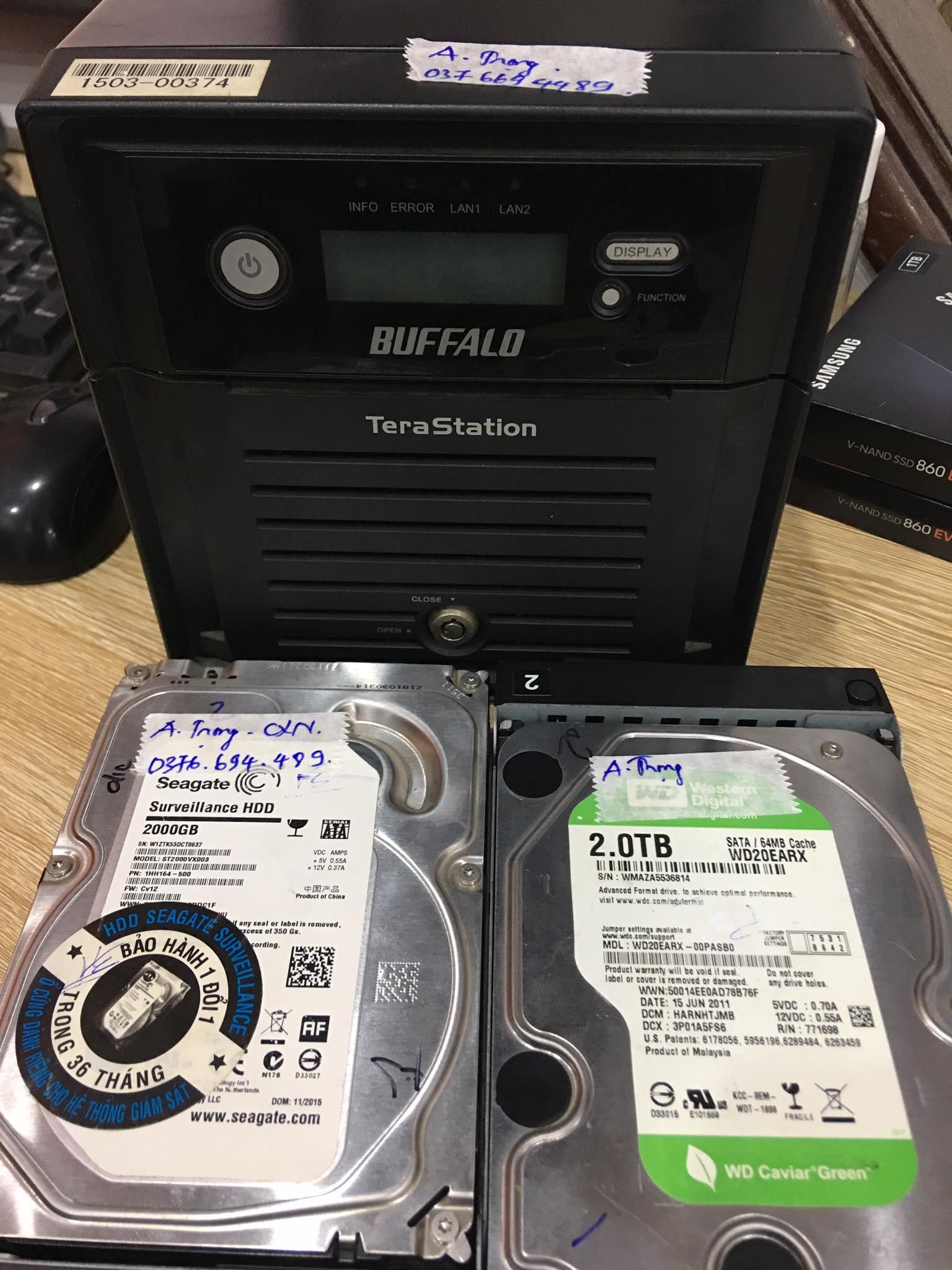 Phục hồi dữ liệu máy chủ Nas Buffalo với 2HDDx2TB lỗi 1HDD 03/09/2020 - cuumaytinh