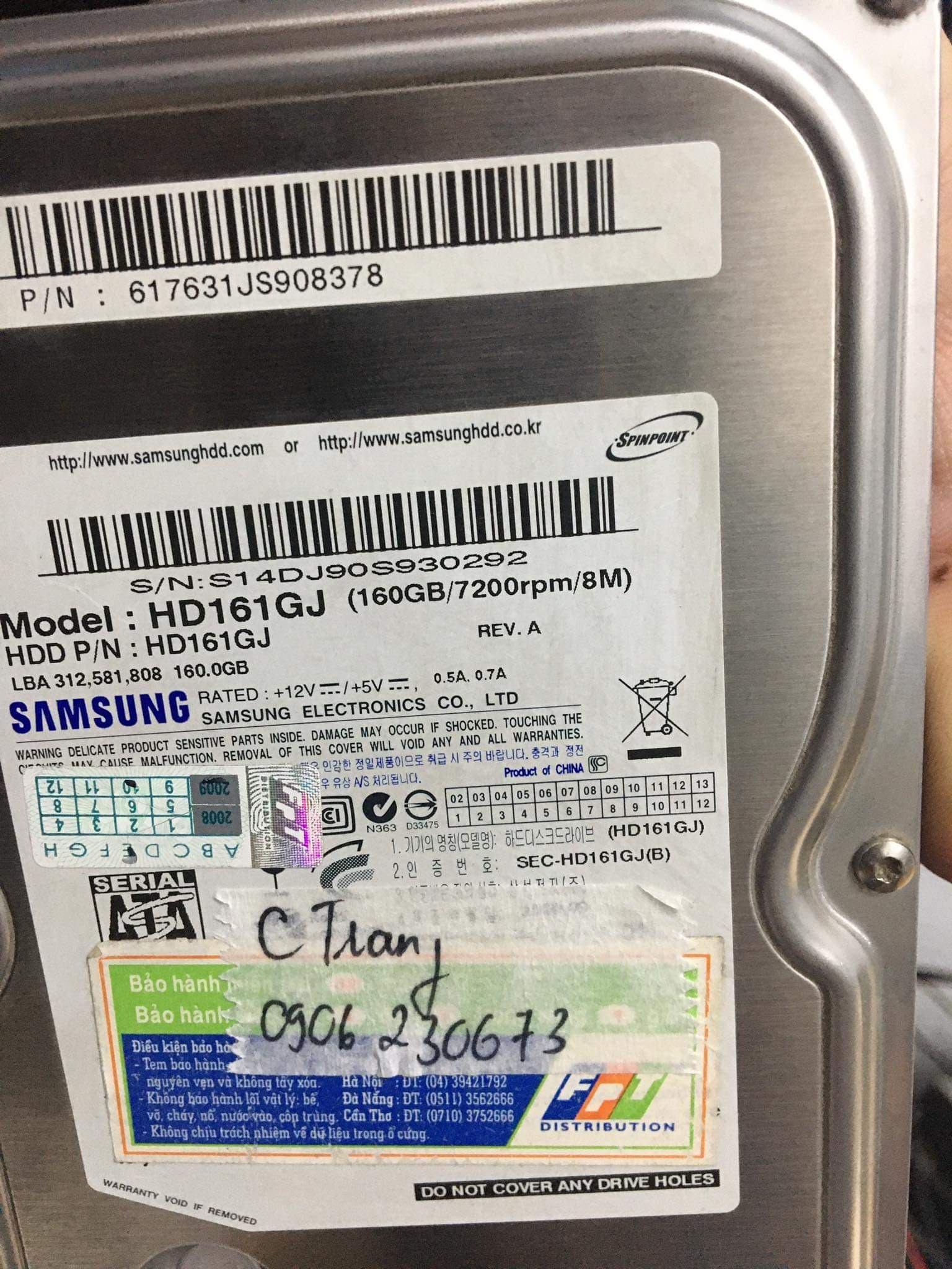 Phục hồi dữ liệu ổ cứng Samsung 160GB không nhận 17/10/2020 - cuumaytinh