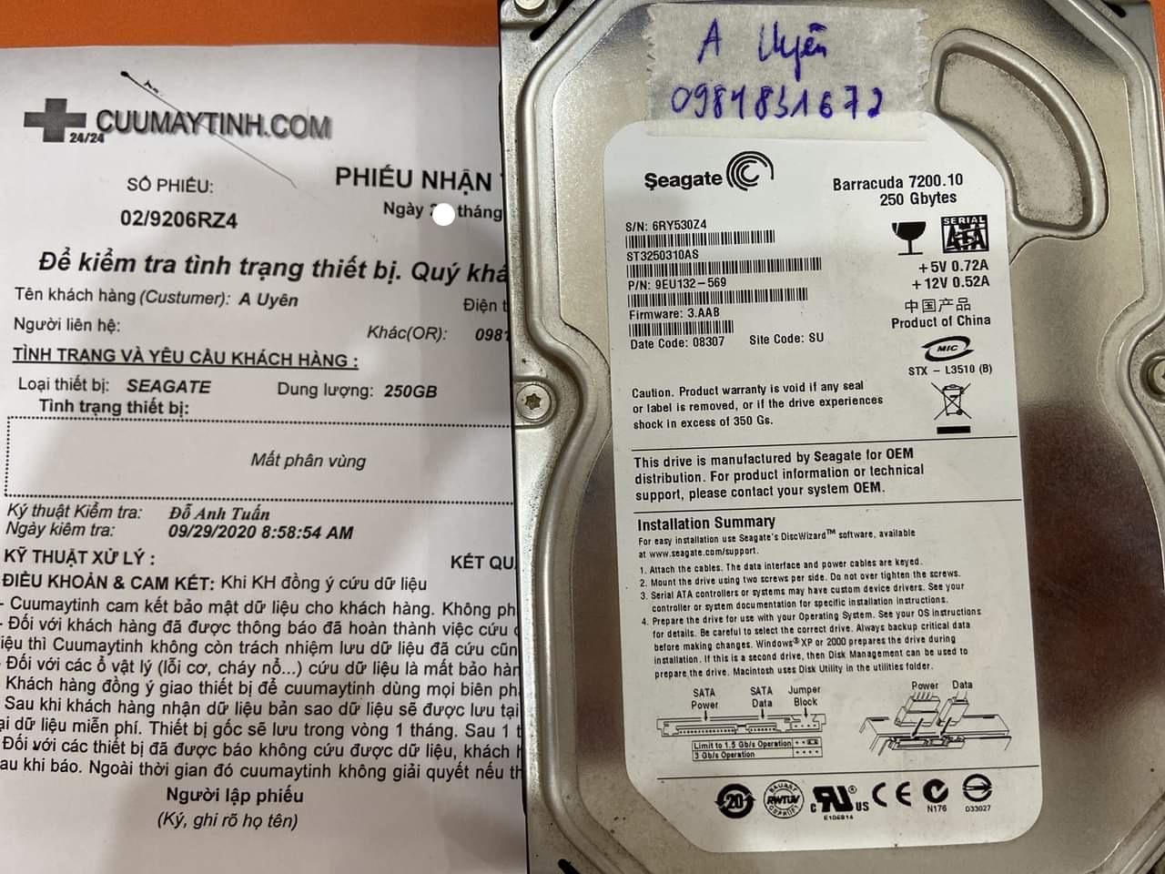 Phục hồi dữ liệu ổ cứng Seagate 250GB mất phân vùng 30/09/2020 - cuumaytinh