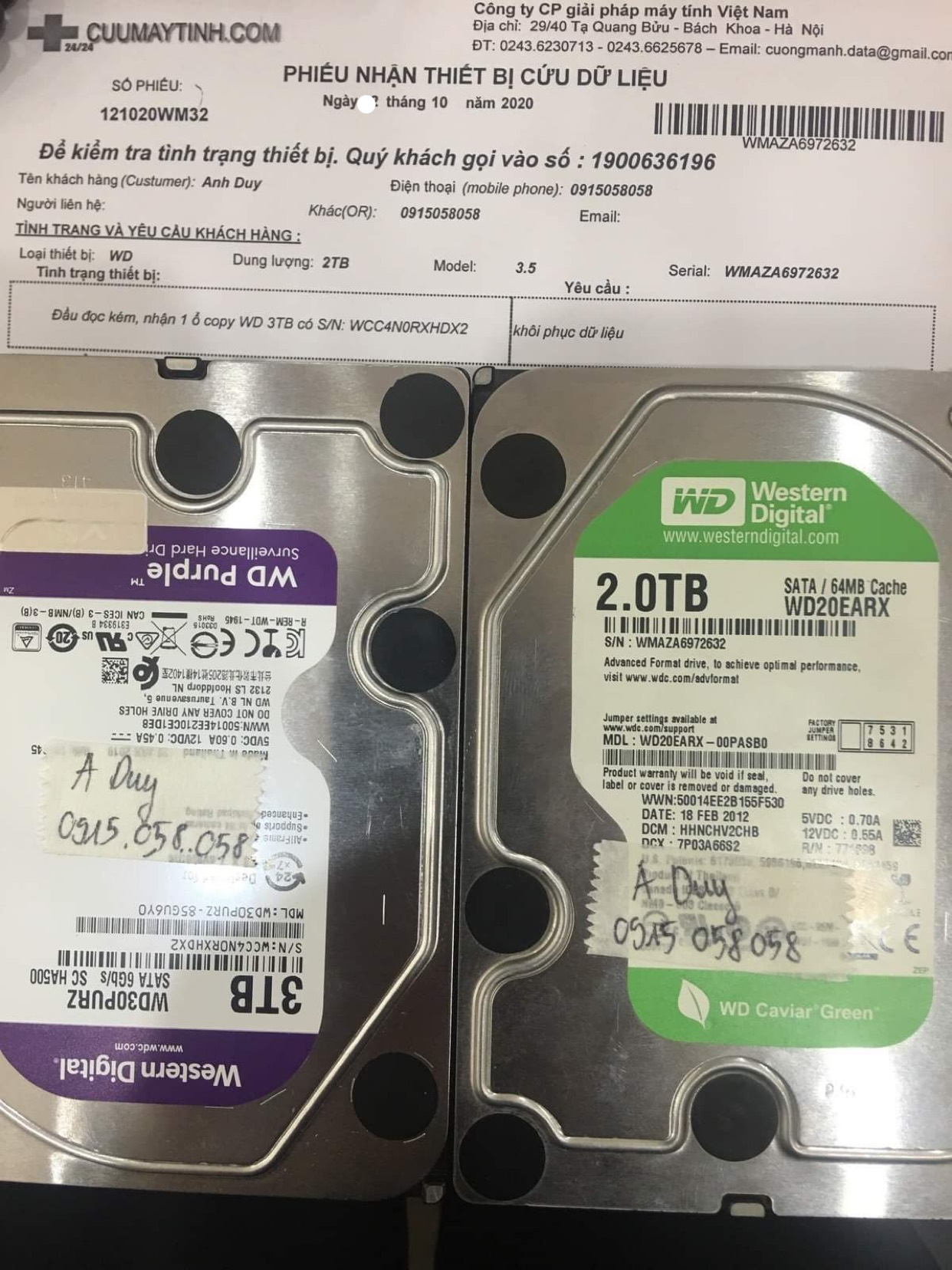 Phục hồi dữ liệu ổ cứng Western 2TB đầu đọc kém 14/10/2020 - cuumaytinh