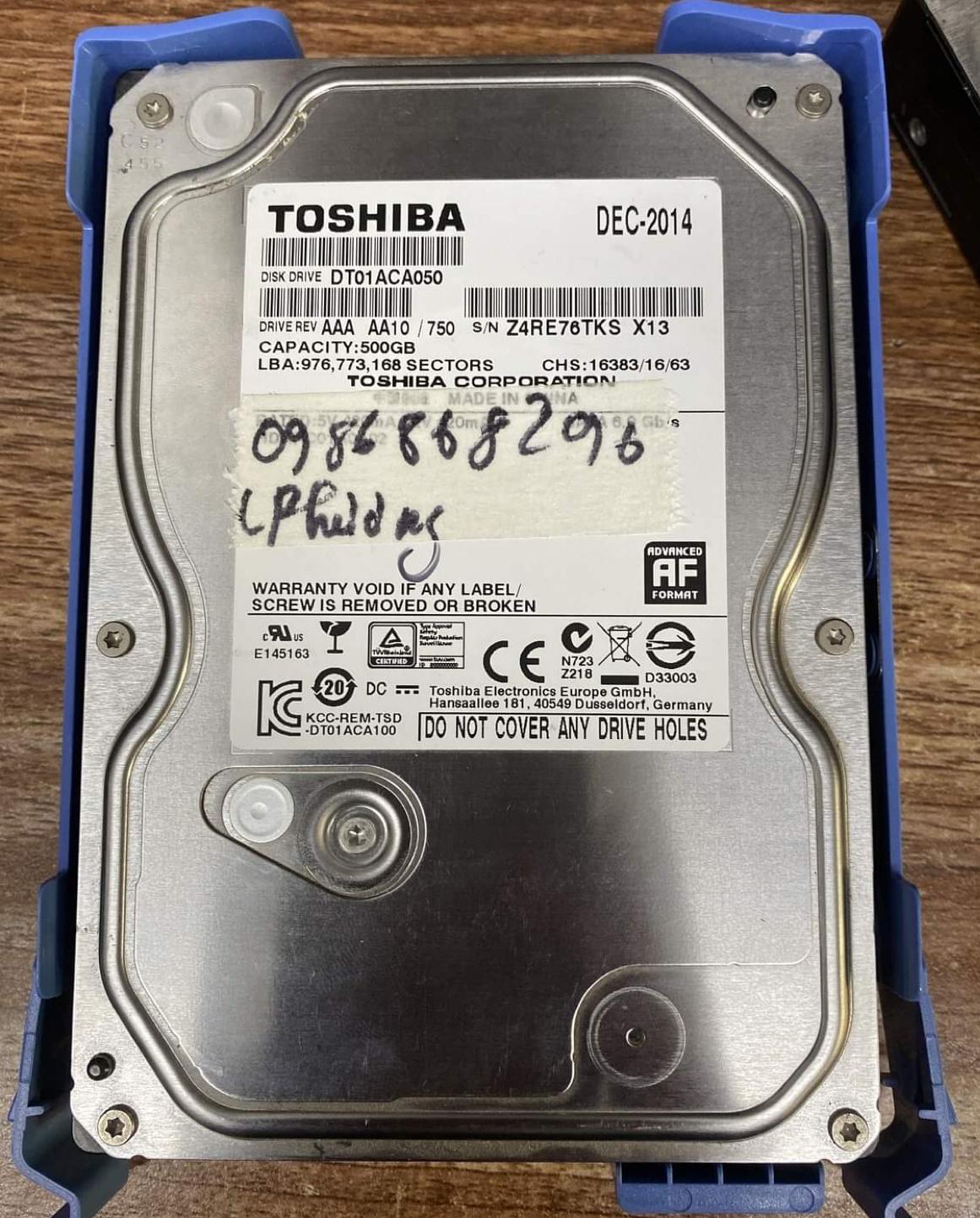Cứu dữ liệu ổ cứng Toshiba 500GB lỗi đầu đọc - 21/11/2020 - cuumaytinh