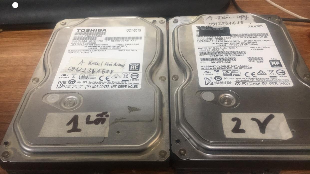 Cứu dữ liệu ổ cứng Toshiba 500GB mất định dạng tại Hà Nam 03/11/2020 - cuumaytinh