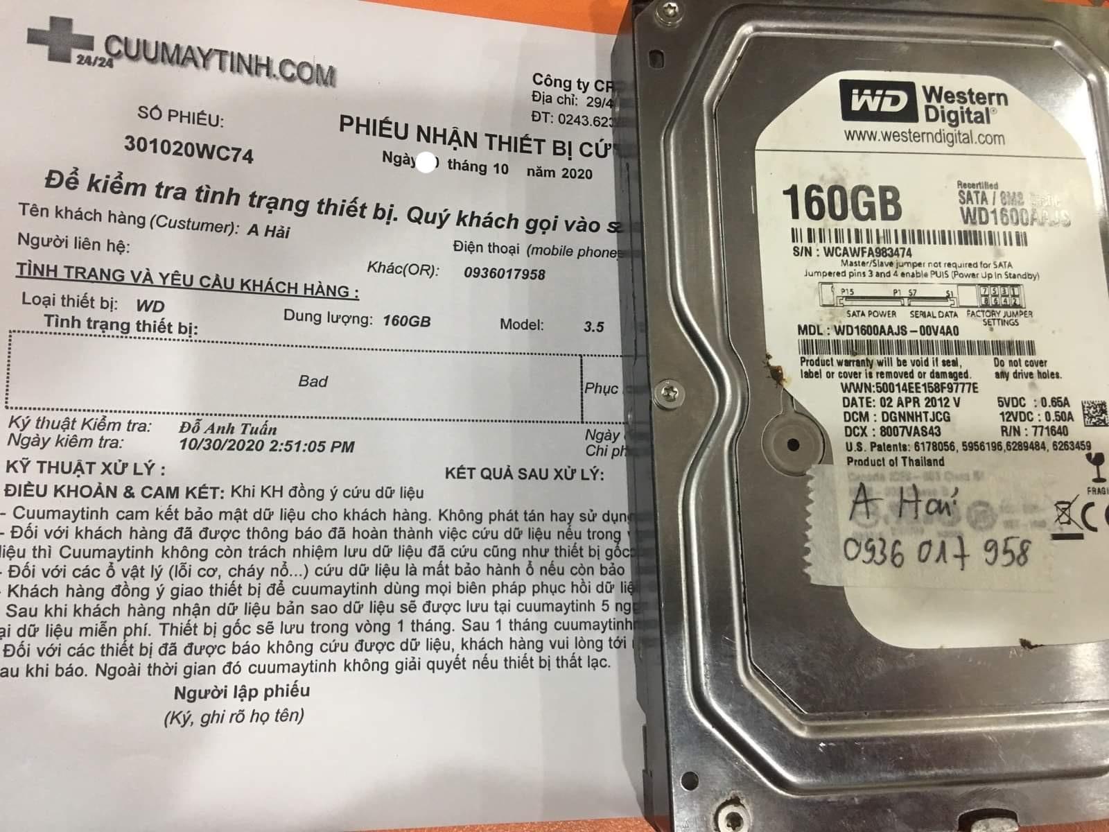 Cứu dữ liệu ổ cứng Western 160GB bad  30/10/2020 - cuumaytinh