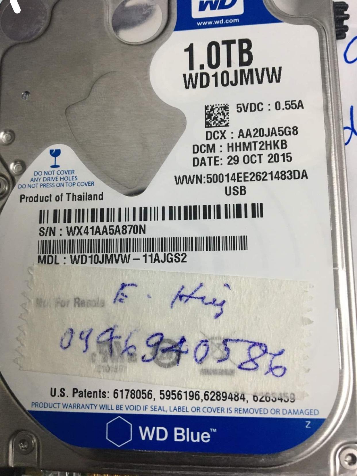 Cứu dữ liệu ổ cứng Western 1TB bó cơ 09/11/2020 - cuumaytinh