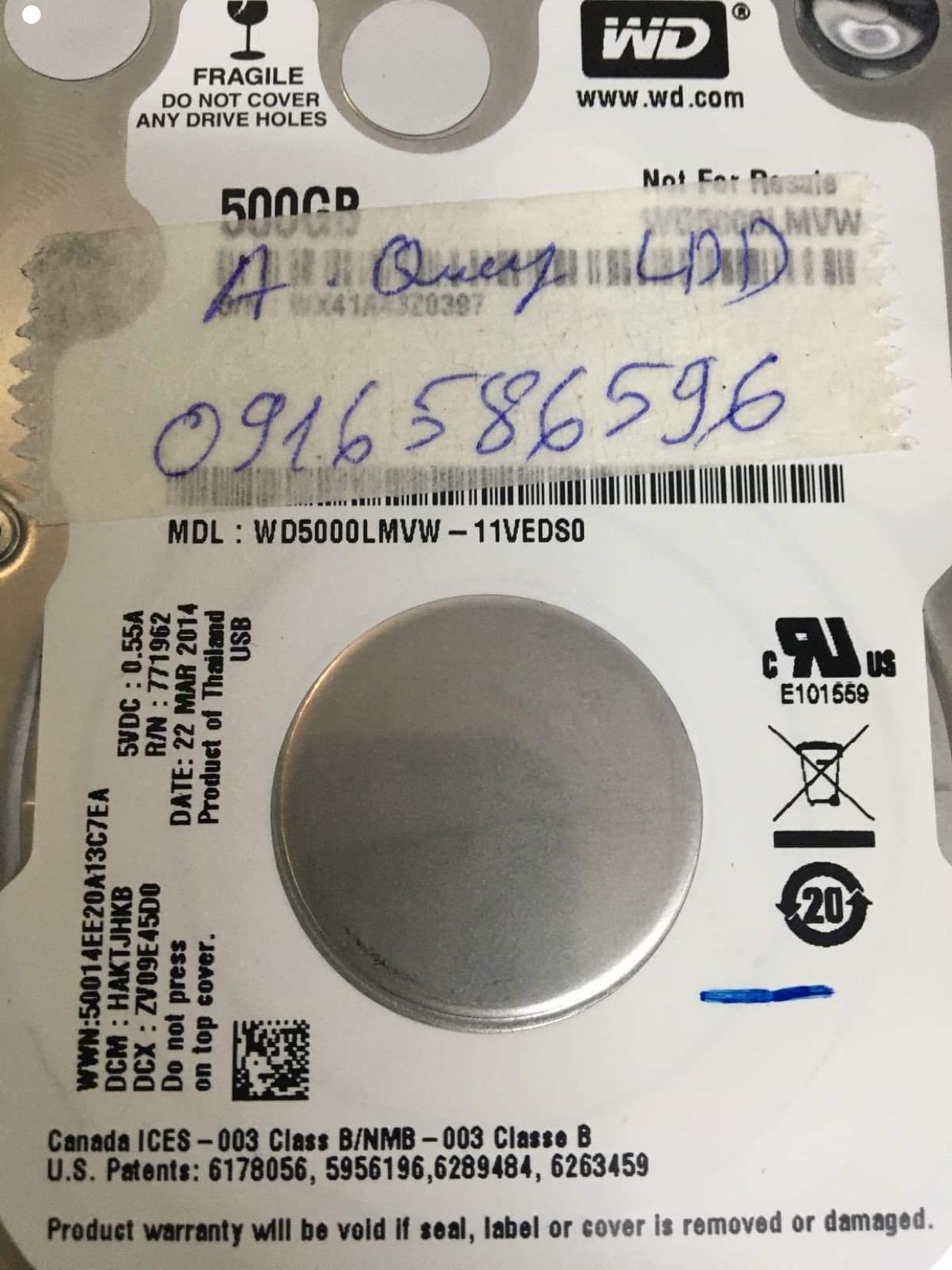 Cứu dữ liệu ổ cứng Western 500GB lỗi đầu đọc - 24/11/2020 - cuumaytinh