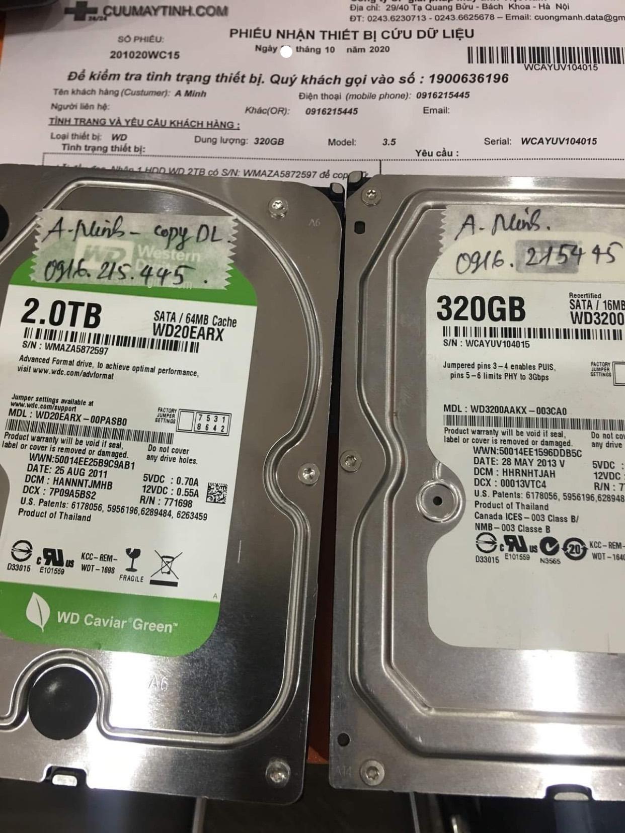 Khôi phục dữ liệu ổ cứng Western 320GB lỗi đầu đọc 30/10/2020 - cuumaytinh