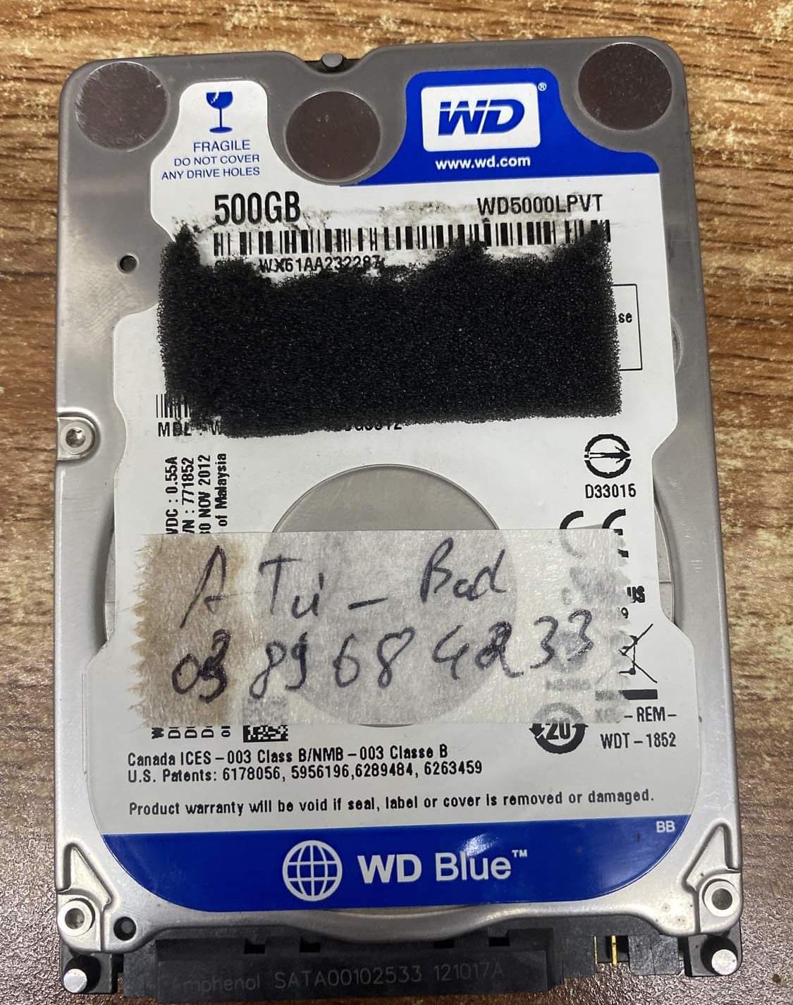 Khôi phục dữ liệu ổ cứng Western 500GB bad 05/11/2020 - cuumaytinh