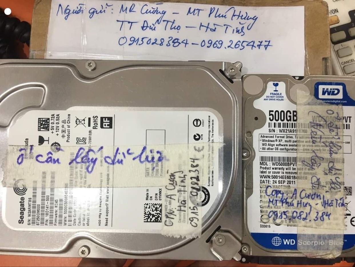 Lấy dữ liệu ổ cứng Seagate 250GB bad tại Hà Tĩnh 06/11/2020 - cuumaytinh