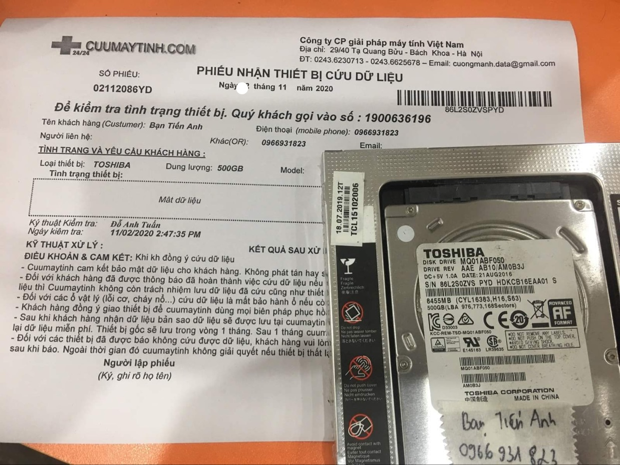 Lấy dữ liệu ổ cứng Toshiba 500GB mất dữ liệu 03/11/2020 - cuumaytinh