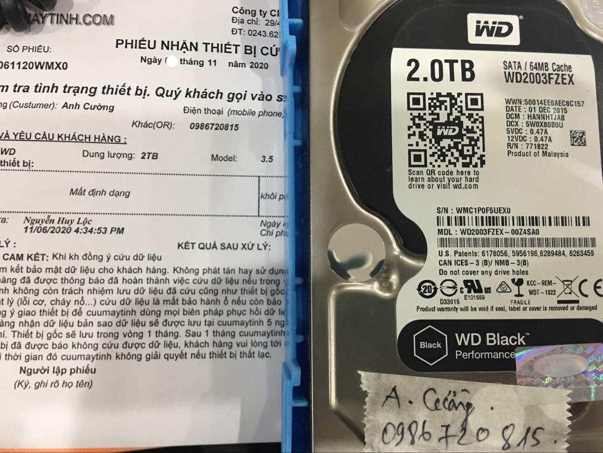 Lấy dữ liệu ổ cứng Western 2TB mất định dạng 09/11/2020 - cuumaytinh