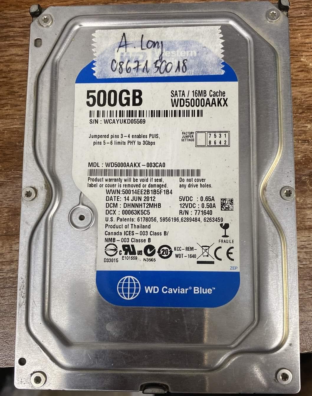Lấy dữ liệu ổ cứng Western 500GB lỗi cơ - 11/11/2020 - cuumaytinh