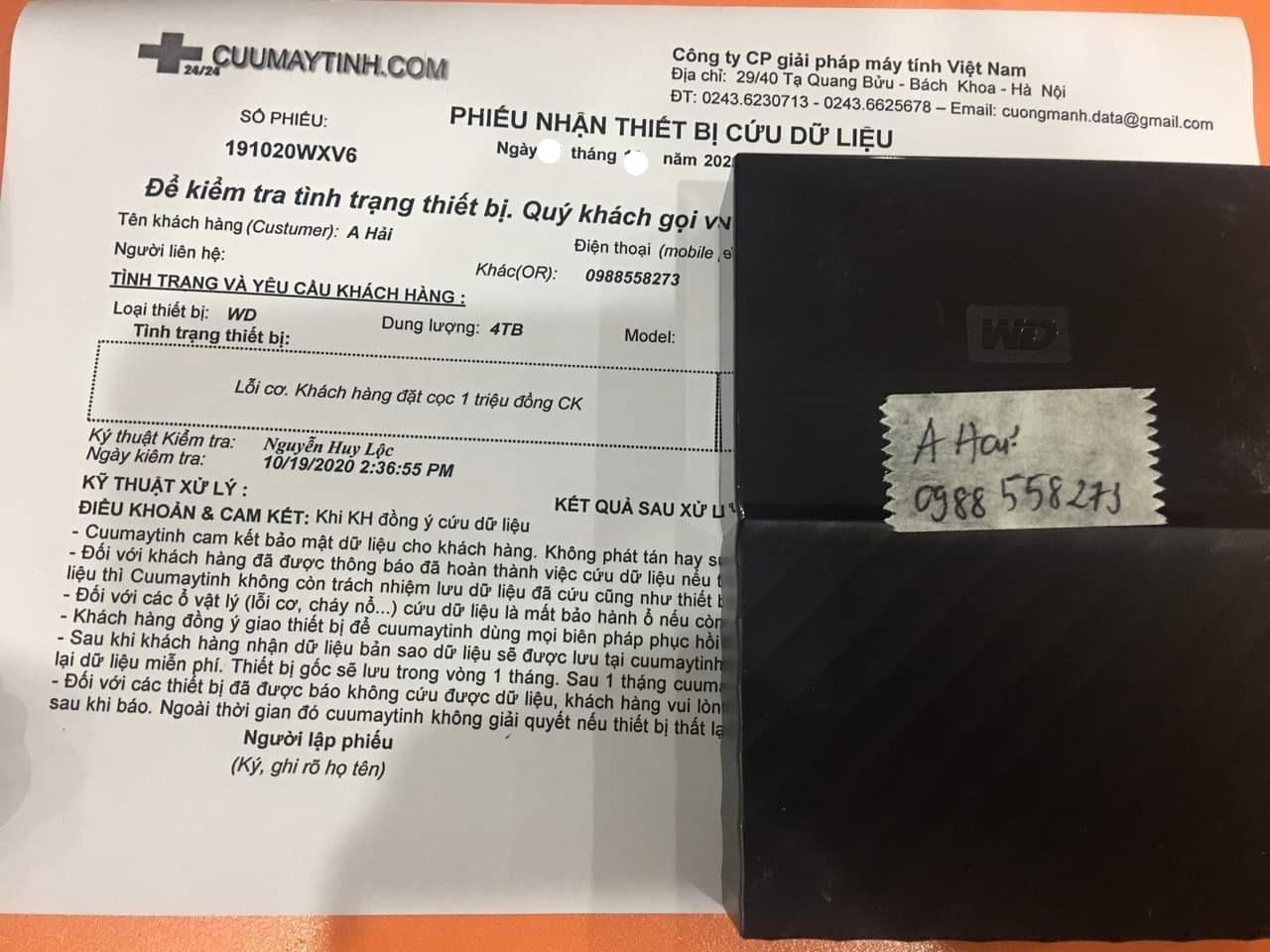 Phục hồi dữ liệu ổ cứng Western 4TB lỗi cơ 05/11 - cuumaytinh