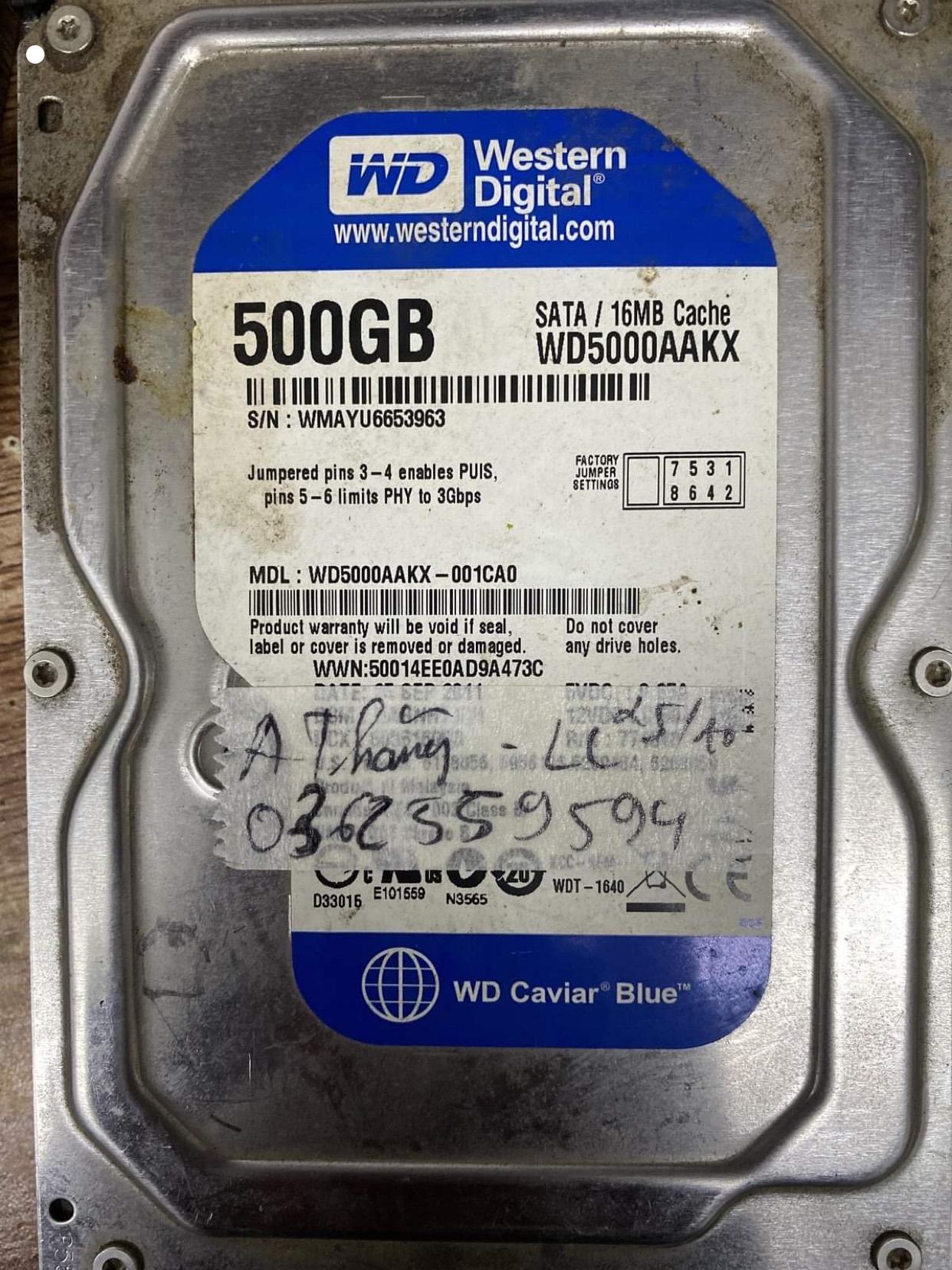 Phục hồi dữ liệu ổ cứng Western 500GB lỗi cơ 29/10/2020 - cuumaytinh
