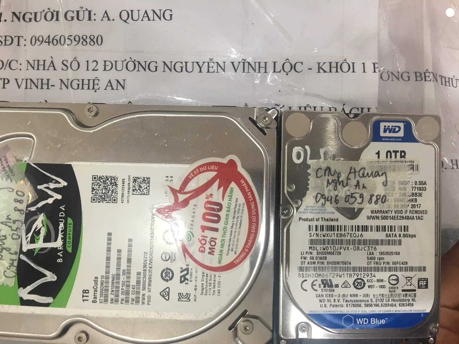 Lấy dữ liệu ổ cứng Western 1TB đầu đọc kém tại Nghệ An 30/10/2020- cuumaytinh