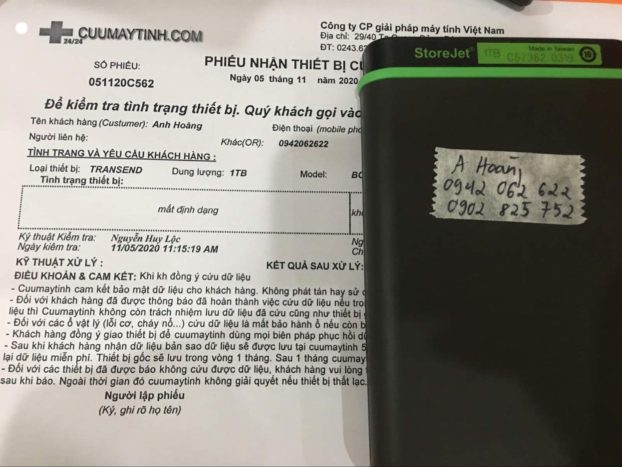 Cứu dữ liệu ổ cứng Transend 1TB mất định dạng 05/11/2020 - cuumaytinh