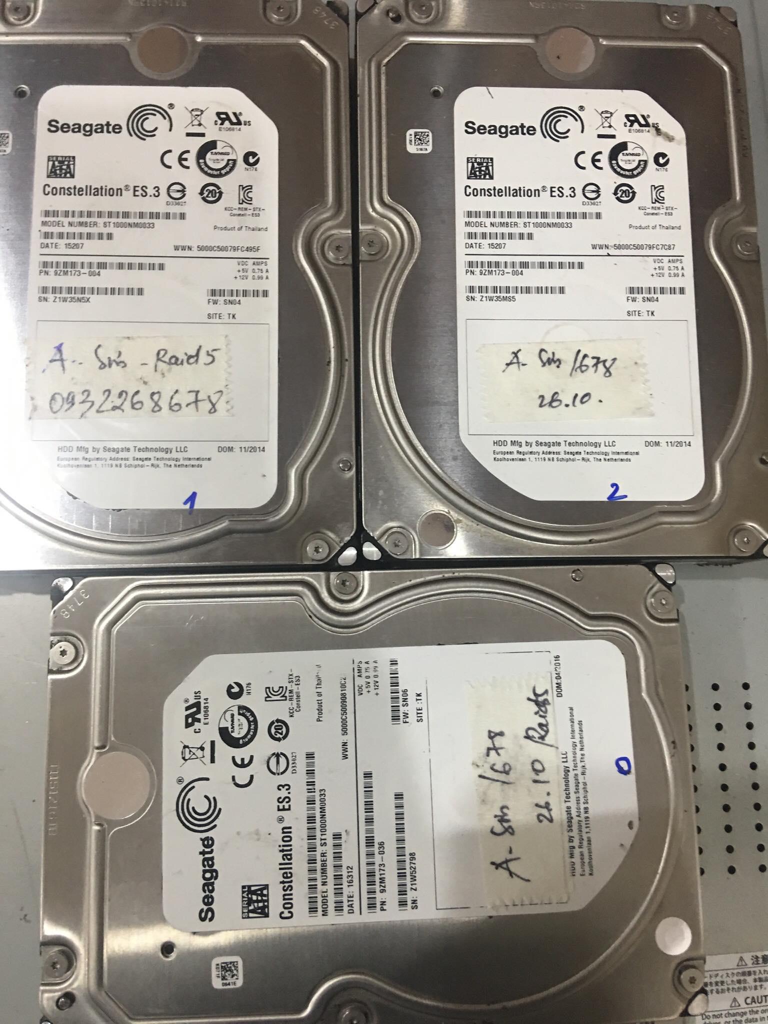 Cứu dữ liệu Server với 3HDDx500GB mất cấu hình Raid - 26/10/2020 - cuumaytinh
