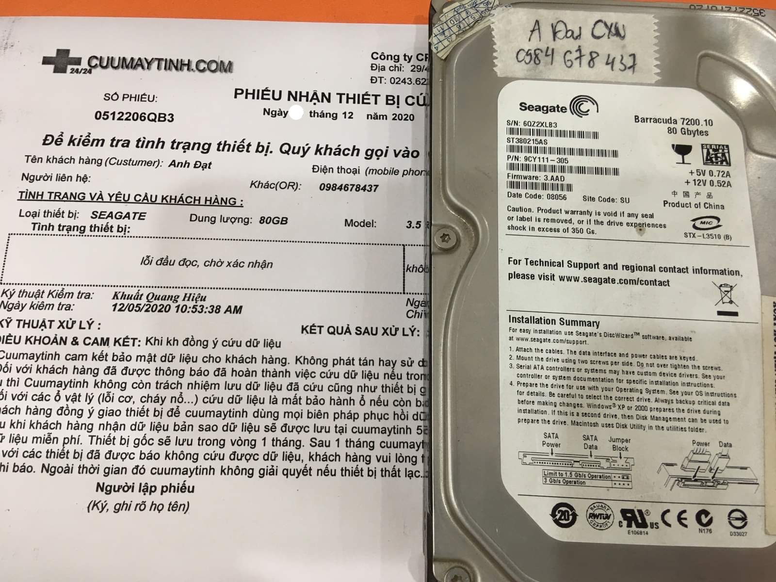 Cứu dữ liệu ổ cứng Samsung 80GB lỗi đầu đọc - 07/12/2020 - cuumaytinh