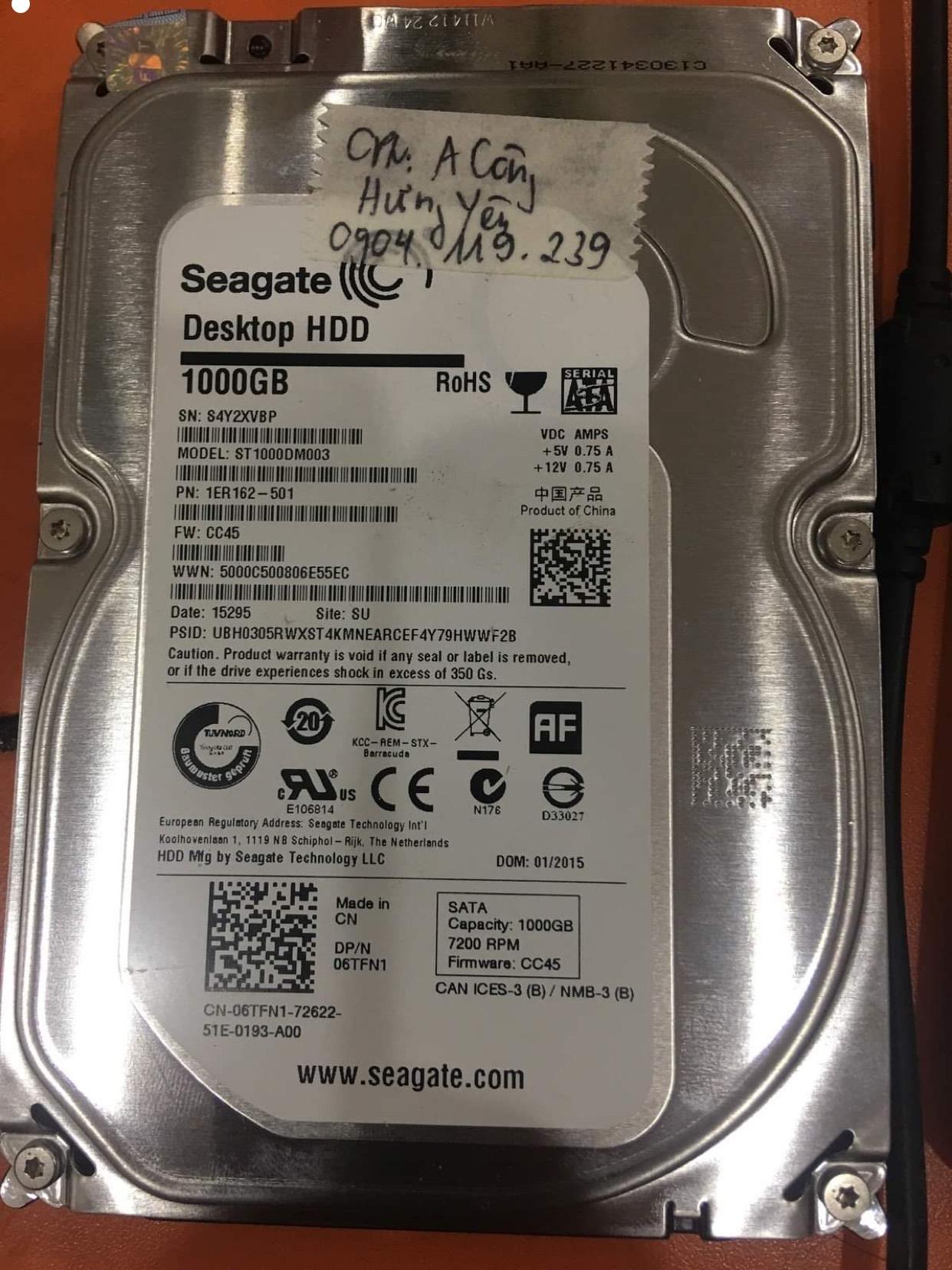 Cứu dữ liệu ổ cứng Seagate 1TB lỗi đầu đọc tại Hưng Yên - 02/12/2020 - cuumaytinh