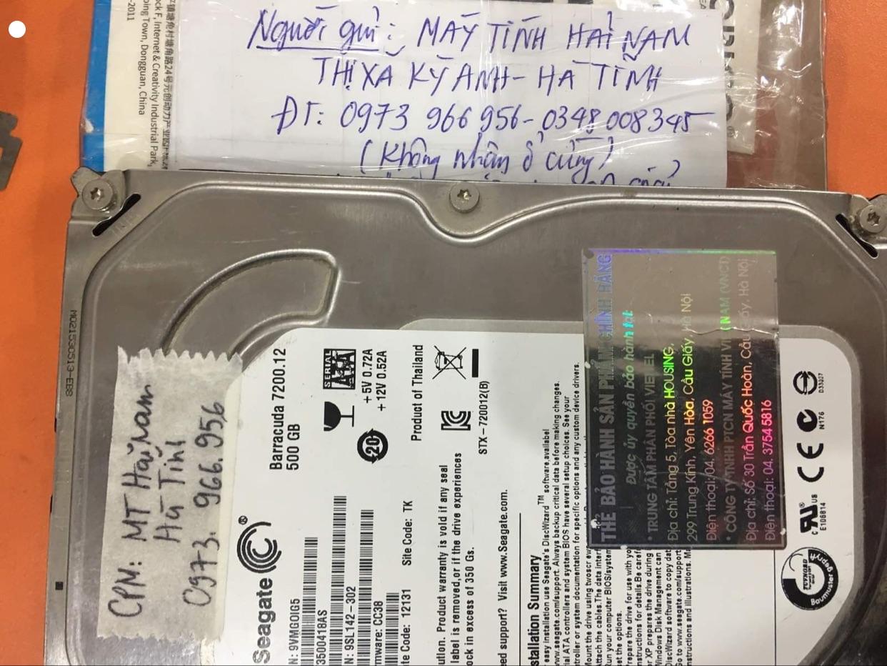 Cứu dữ liệu ổ cứng Seagate 500GB đầu đọc kém tại Hà Tĩnh - 21/12/2020 - cuumaytinh