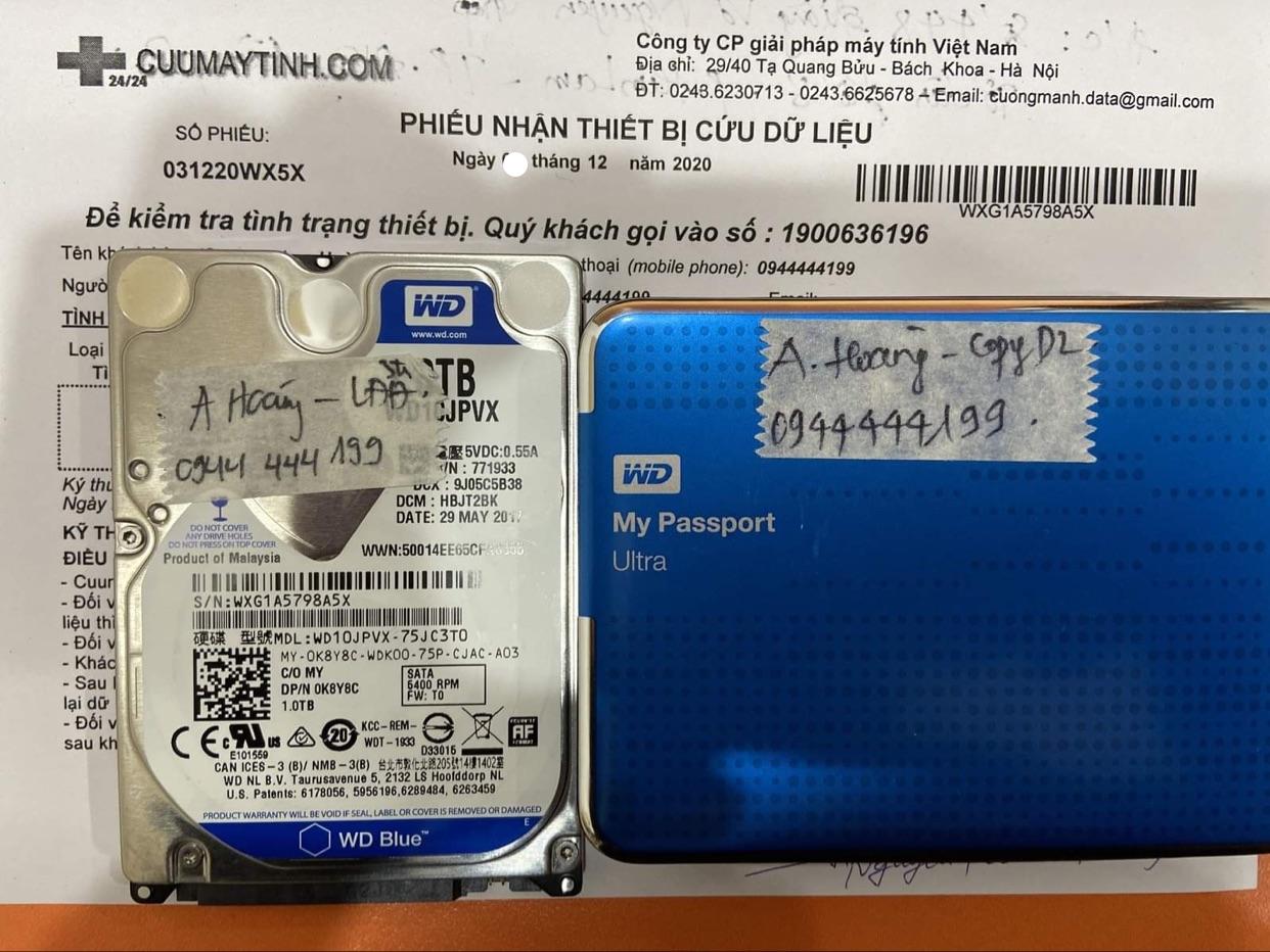 Cứu dữ liệu ổ cứng Western 1TB lỗi đầu đọc - 12/12/2020 - cuumaytinh