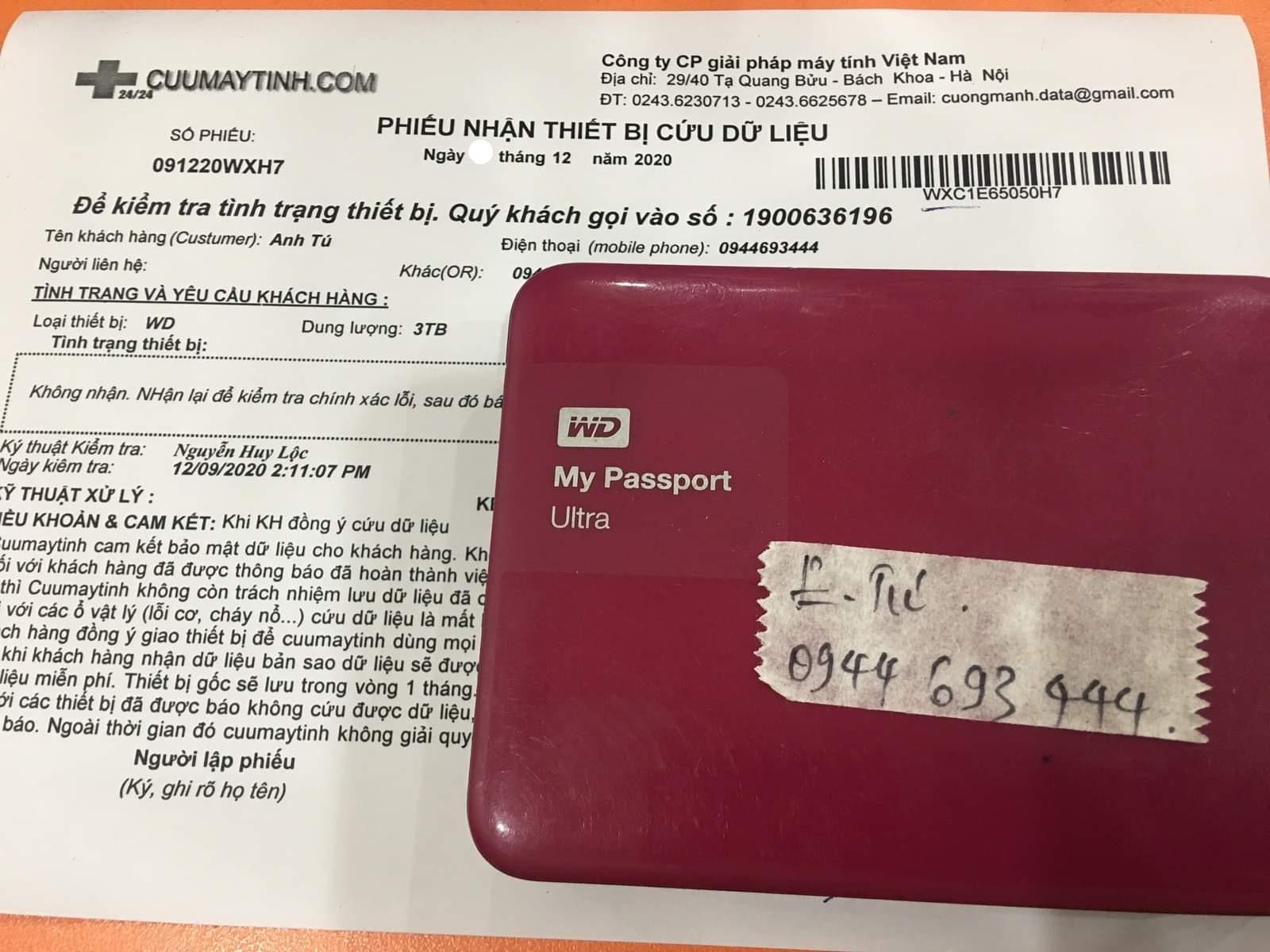 Cứu dữ liệu ổ cứng Western 3TB lỗi đầu đọc - 19/12/2020 - cuumaytinh