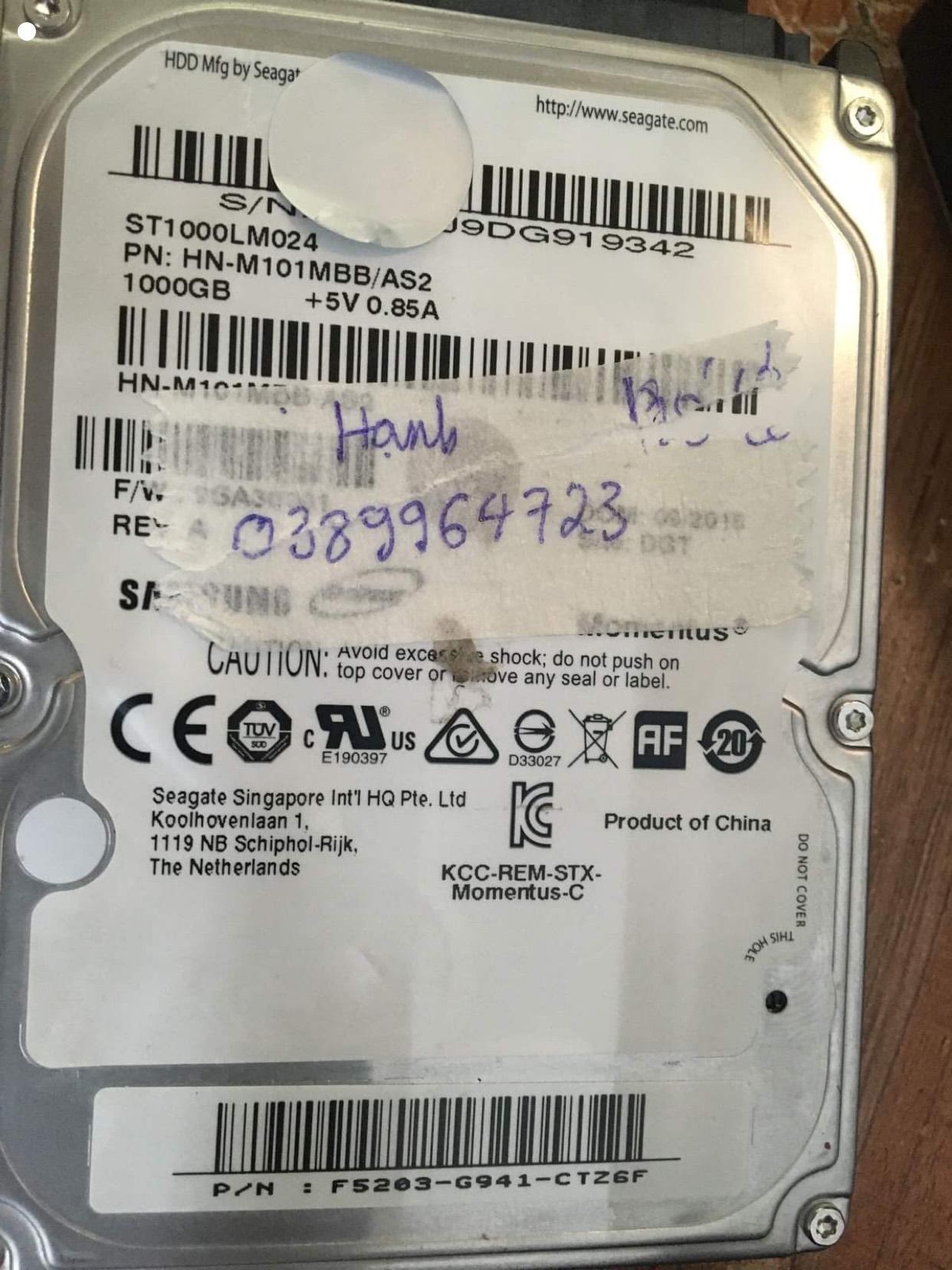 Khôi phục dữ liệu ổ cứng Samsung 1TB lỗi cơ - 02/12/2020 - cuumaytinh