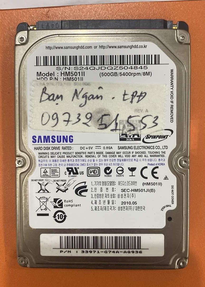 Khôi phục dữ liệu ổ cứng Samsung 500GB lỗi đầu đọc - 04/12/2020 - cuumaytinh