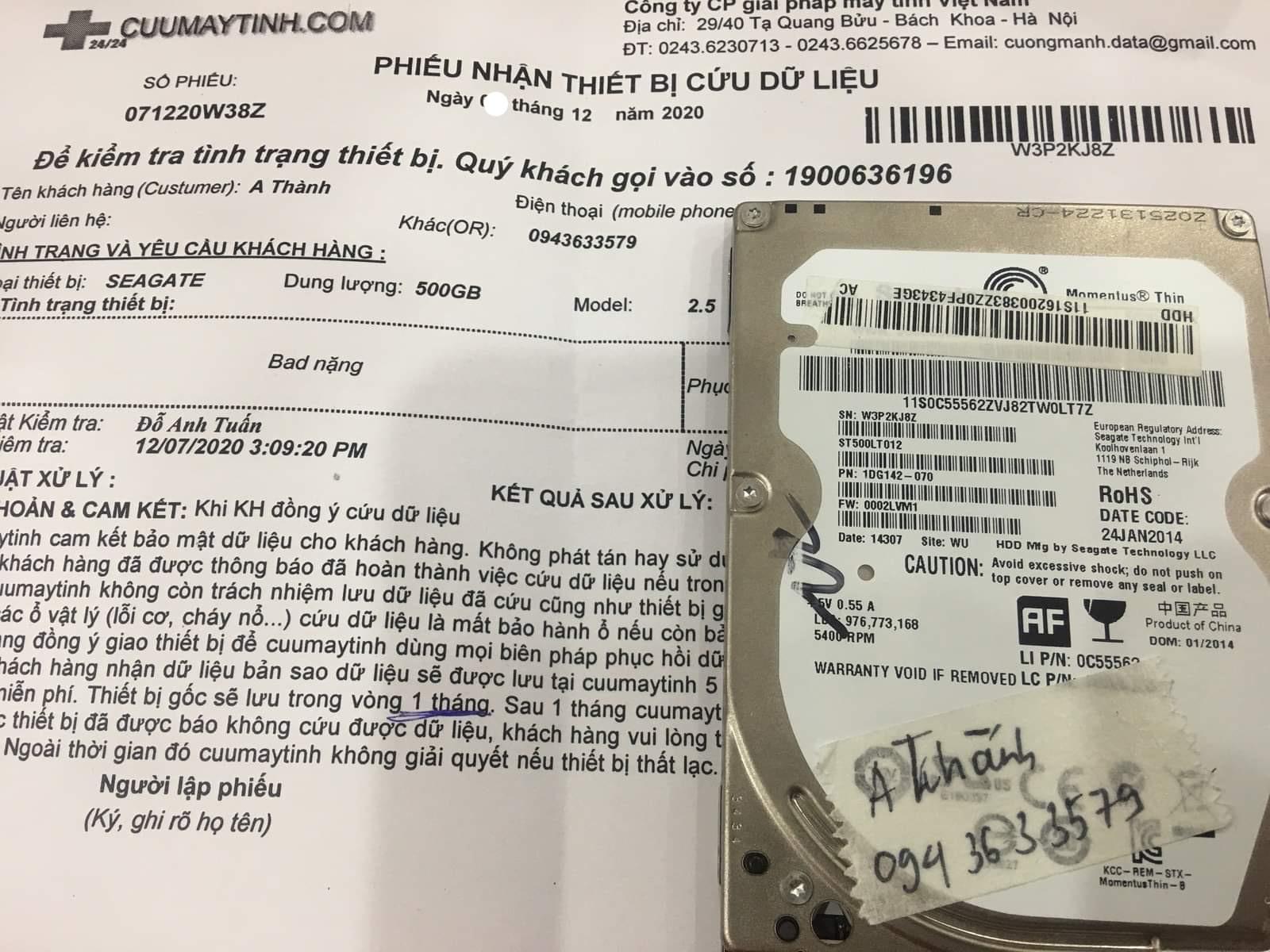 Khôi phục dữ liệu ổ cứng Seagate 1TB bad - 14/12/2020 - cuumaytinh