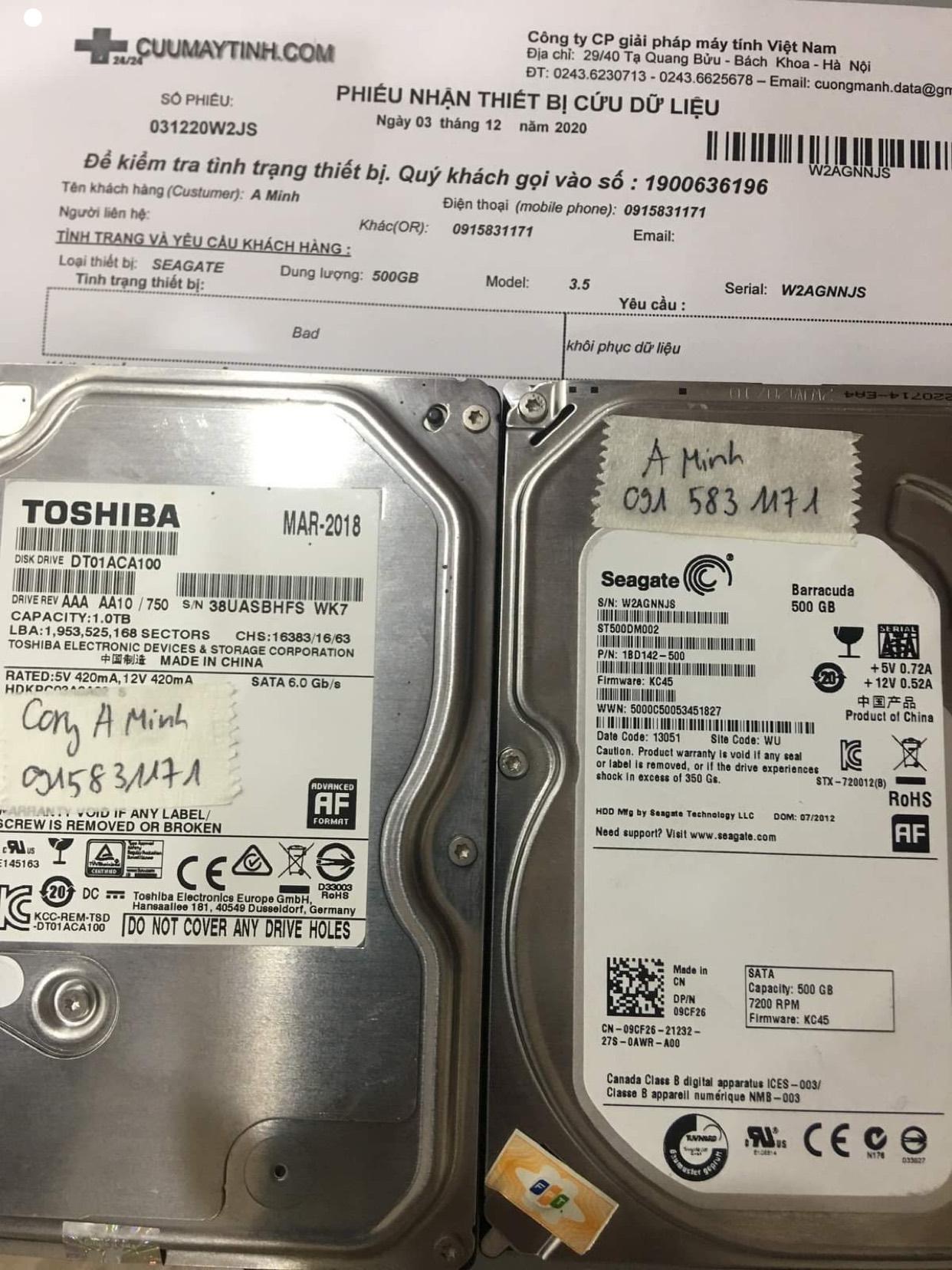Khôi phục dữ liệu ổ cứng Seagate 500GB bad - 03/12/2020 - cuumaytinh