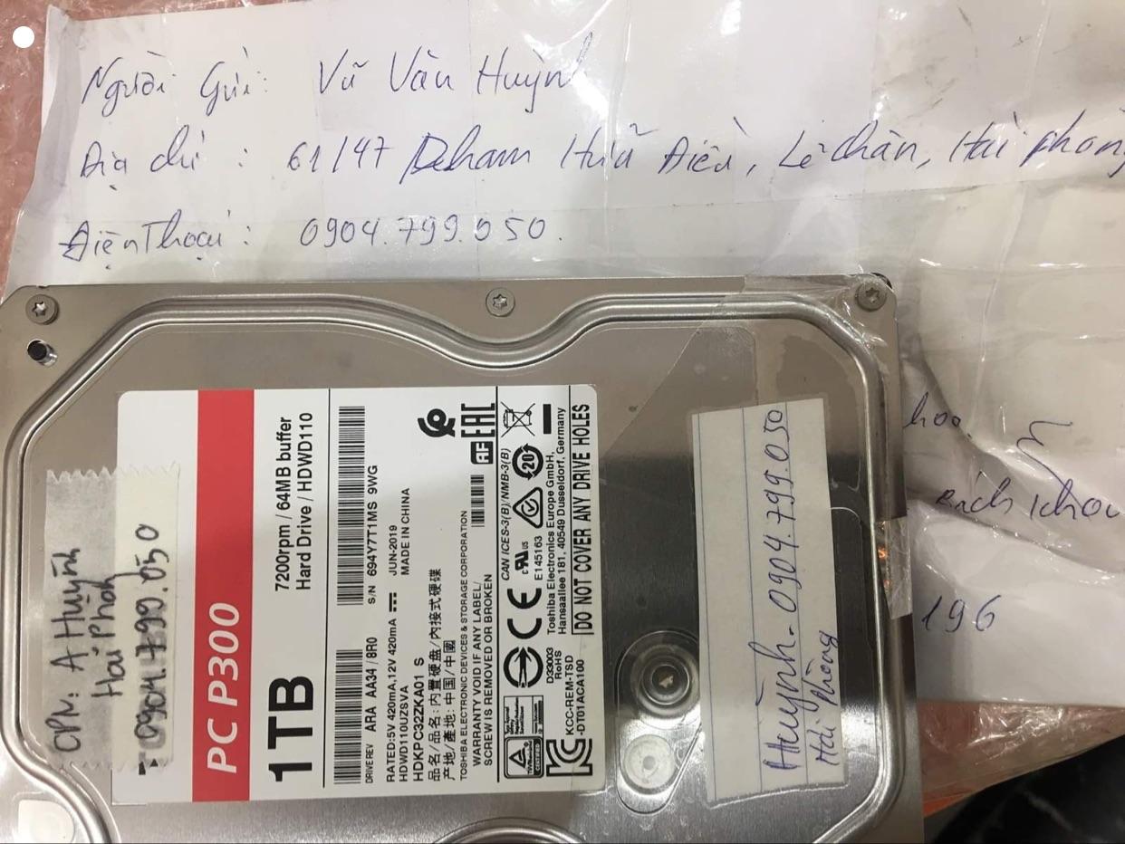 Khôi phục dữ liệu ổ cứng Toshiba 1TB đầu đọc kém - 09/12/2020 tại Hải Phòng - cuumaytinh