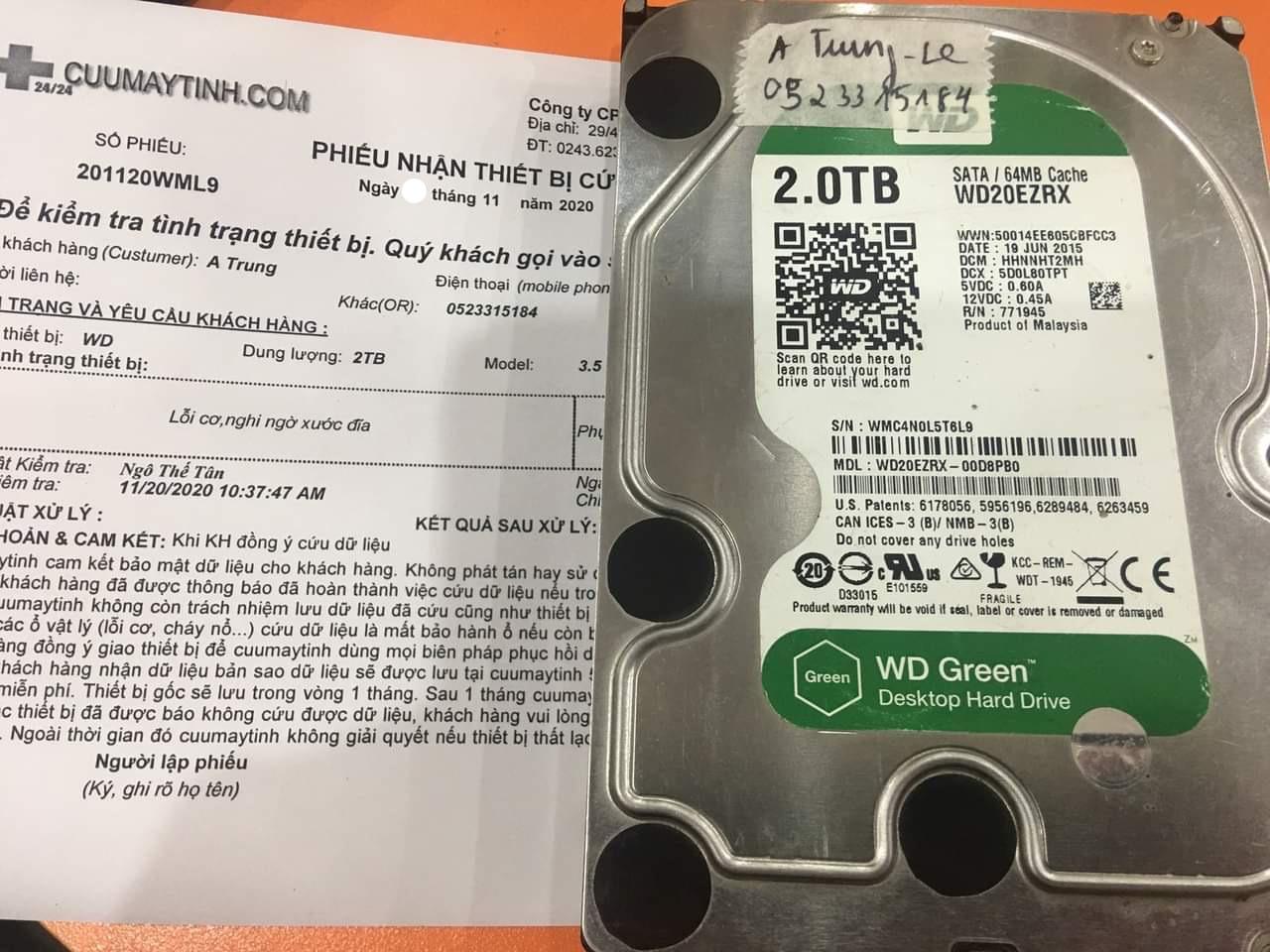 Khôi phục dữ liệu ổ cứng Western 2TB lỗi cơ - 25/11/2020 - cuumaytinh