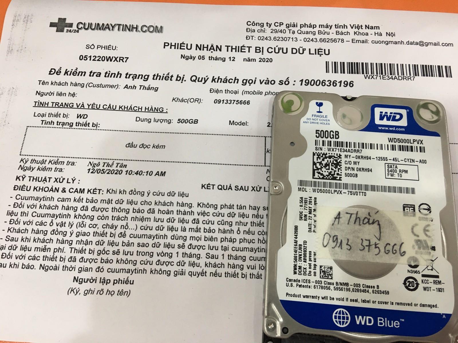 Khôi phục dữ liệu ổ cứng Western 500GB đầu đọc kém - 07/12/2020 - cuumaytinh
